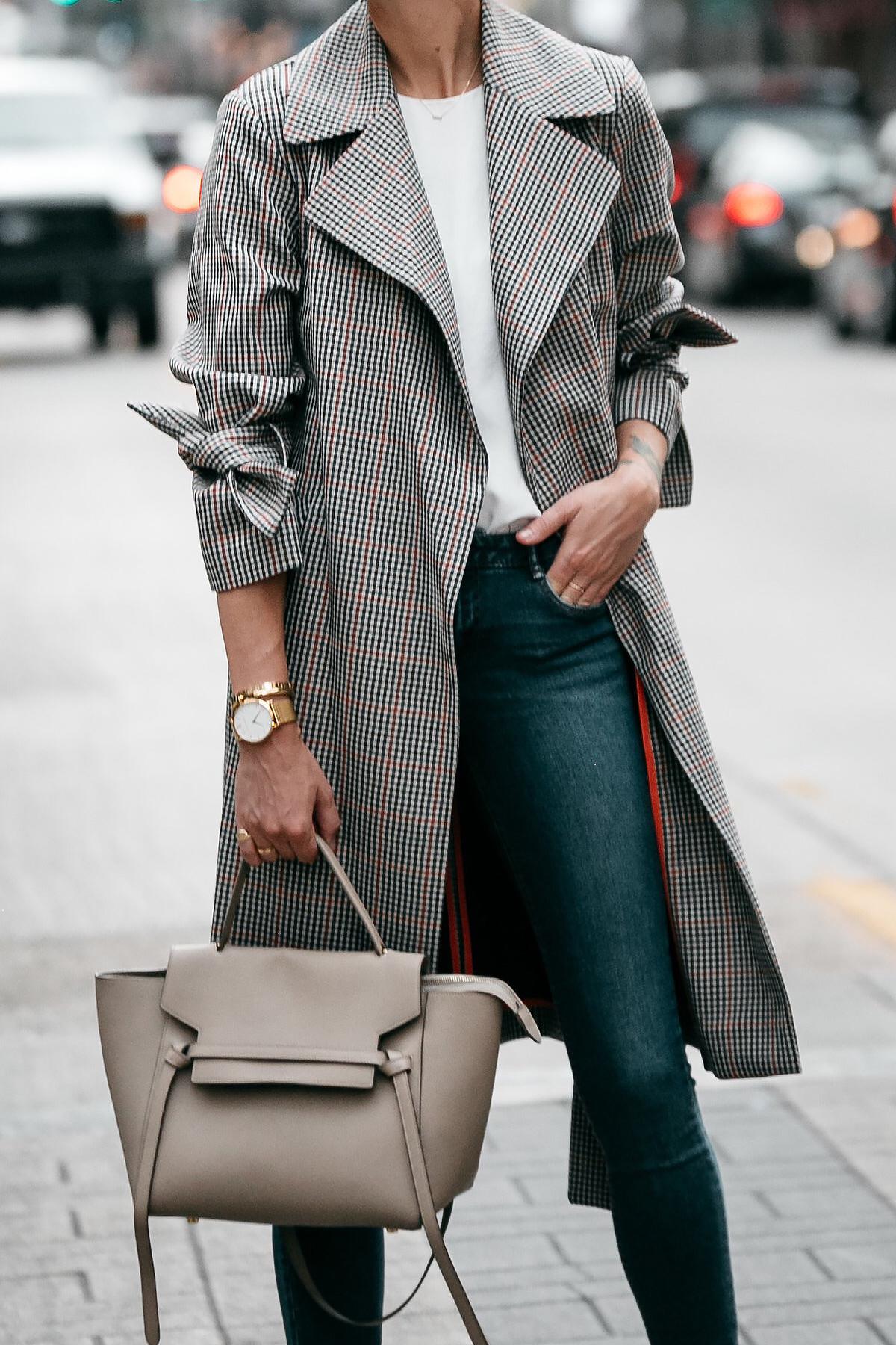 Topshop Plaid Trench Coat Denim Skinny Jeans Celine Belt Bag Fashion Jackson Dallas Blogger Fashion Blogger Street Style
