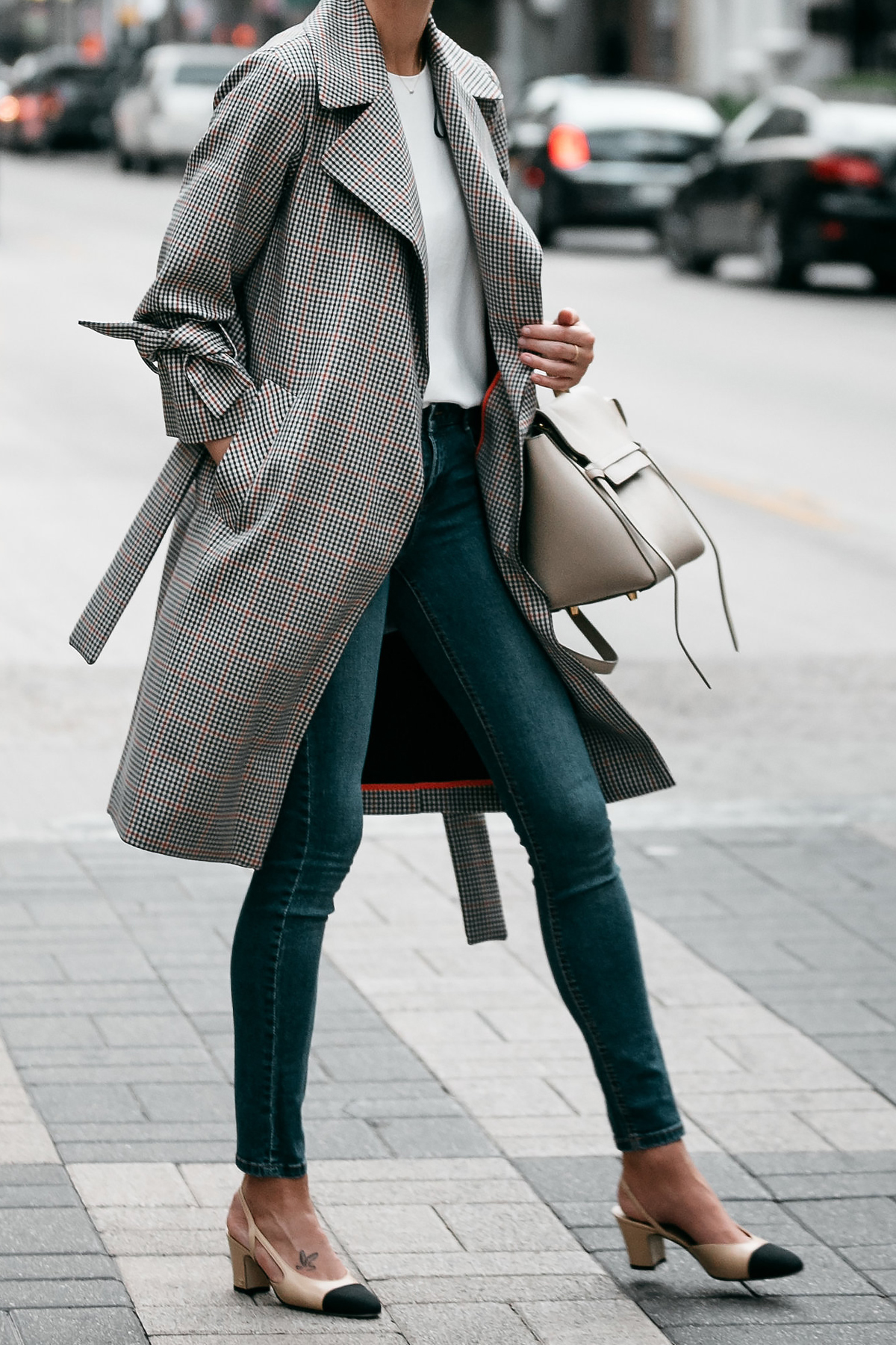 Topshop Plaid Trench Coat Denim Skinny Jeans Outfit Chanel Slingbacks Fashion Jackson Dallas Blogger Fashion Blogger Street Style