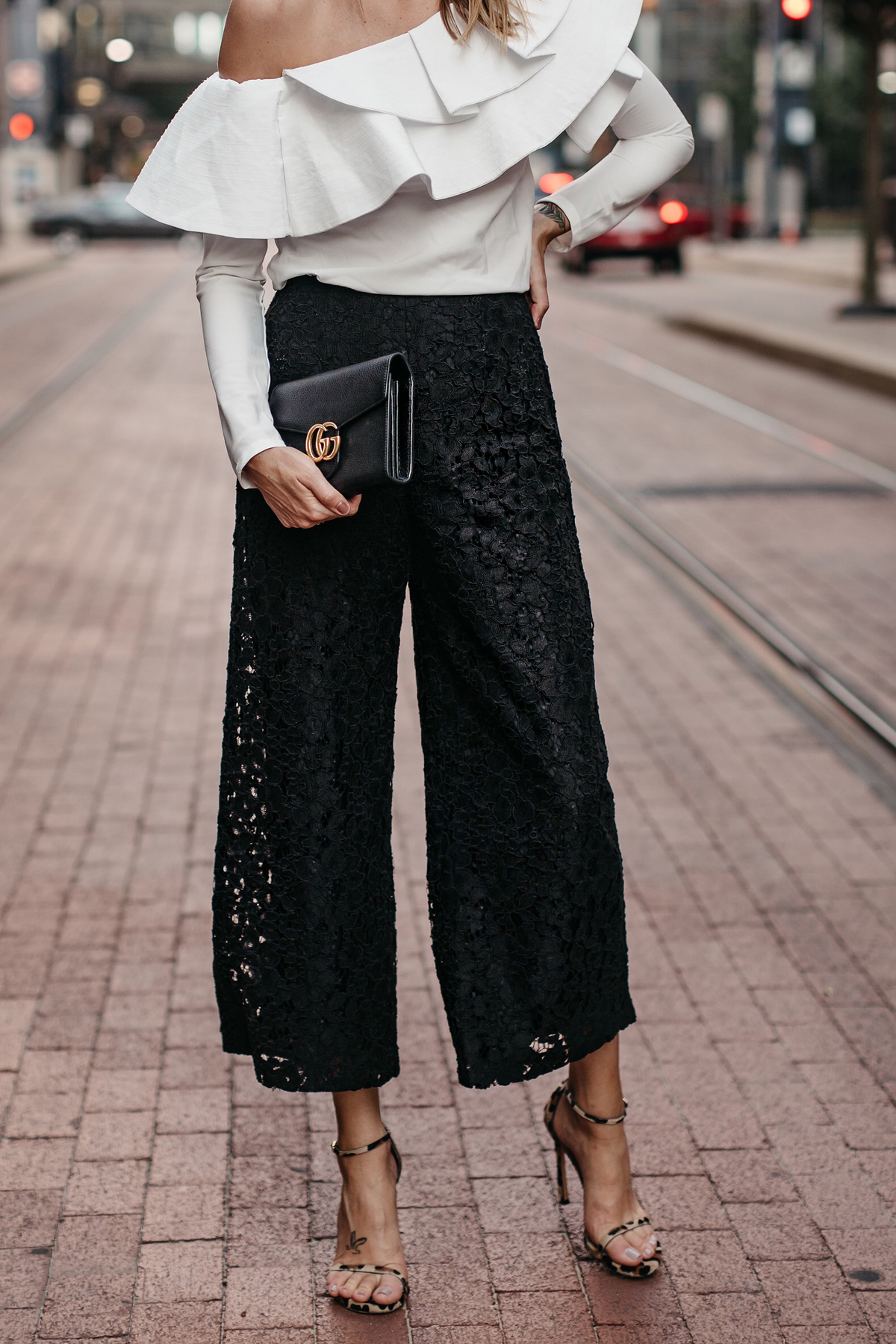 White One Shoulder Ruffle Top Black Lace Culottes Gucci Marmont Handbag Leopard Heels Fashion Jackson Dallas Blogger Fashion Blogger Street Style
