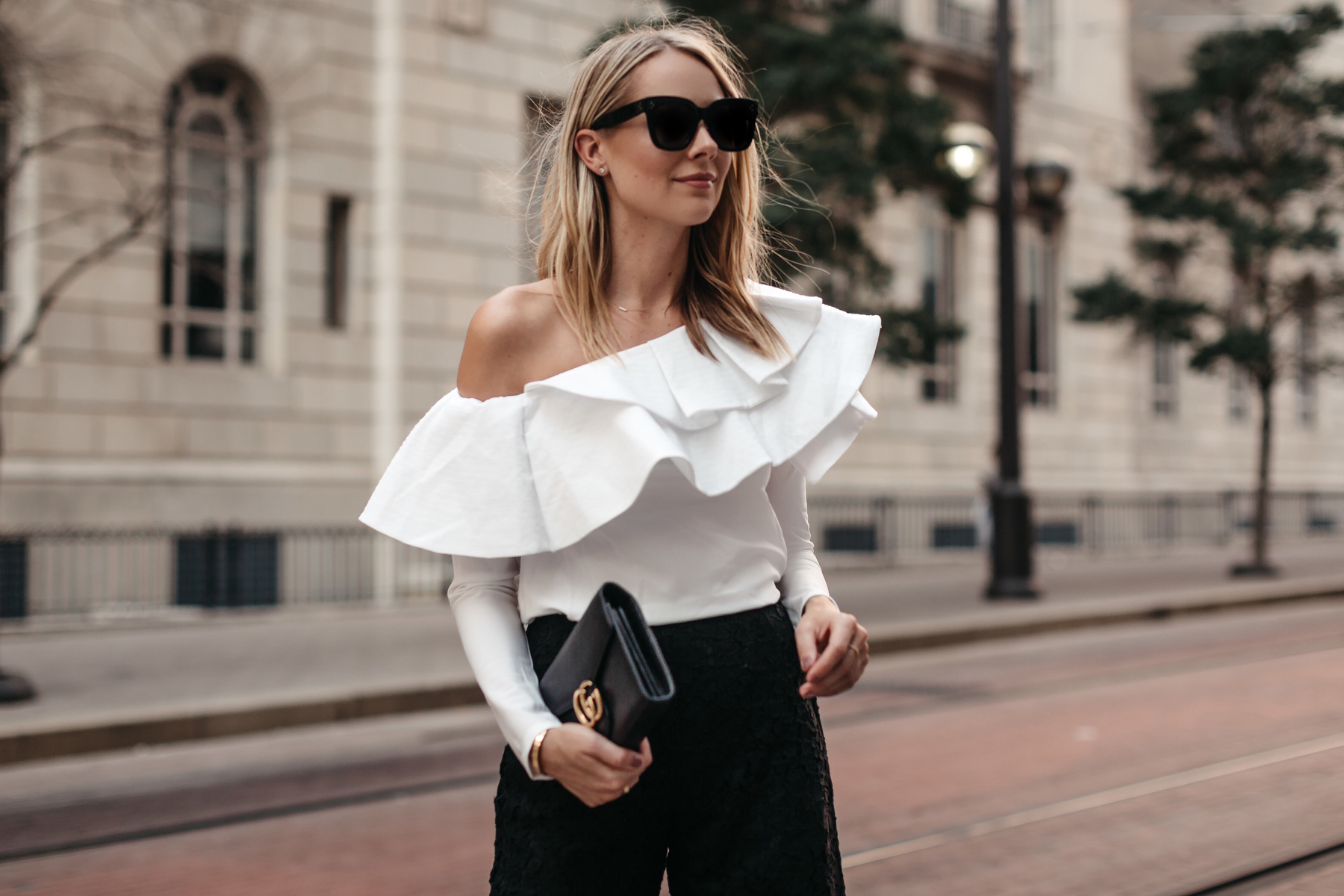 Blonde Woman Wearing White One Shoulder Ruffle Top Fashion Jackson Dallas Blogger Fashion Blogger Street Style