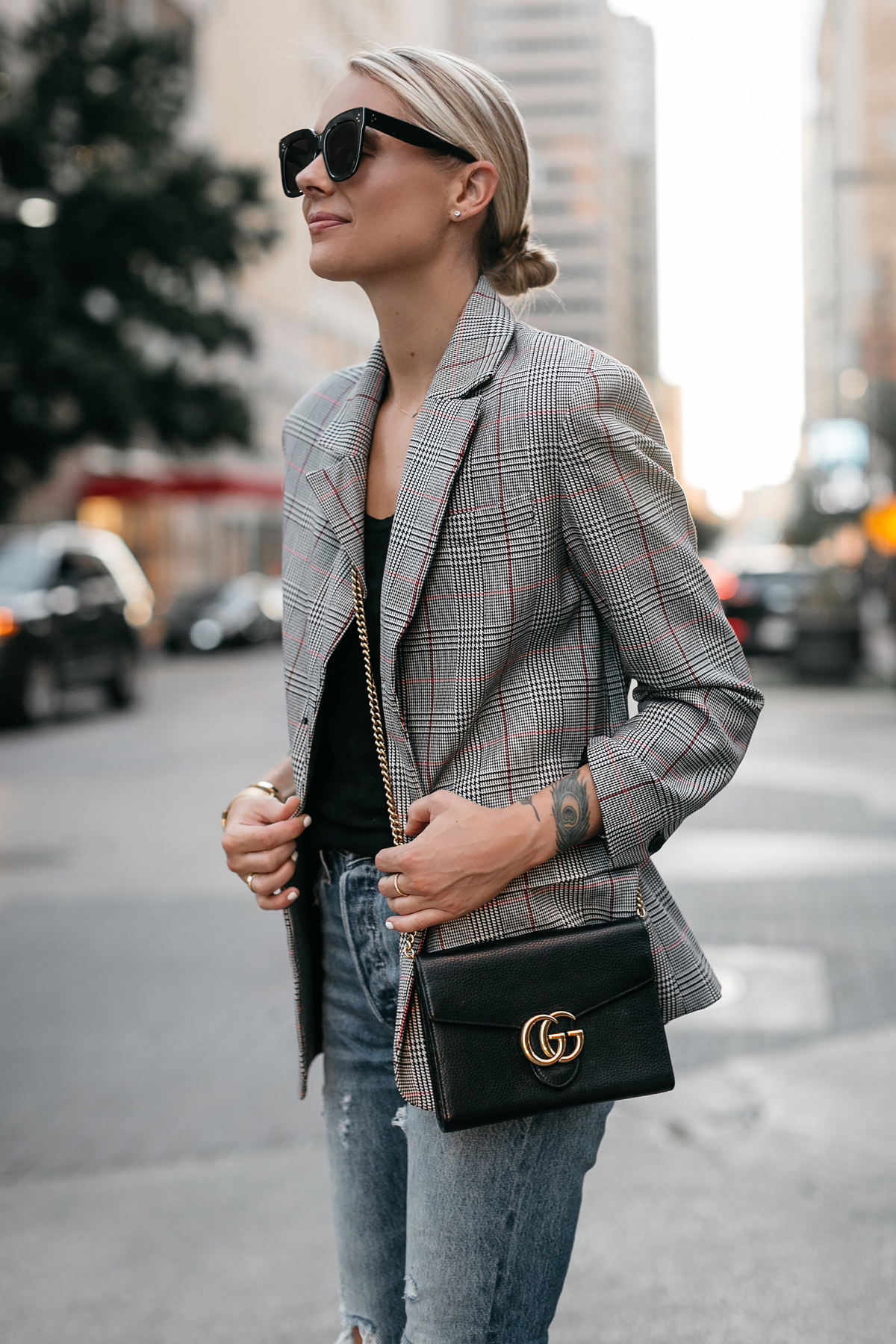 Blonde Woman Wearing Zara Plaid Blazer Denim Jeans Gucci Marmont Handbag Fashion Jackson Dallas Blogger Fashion Blogger Street Style