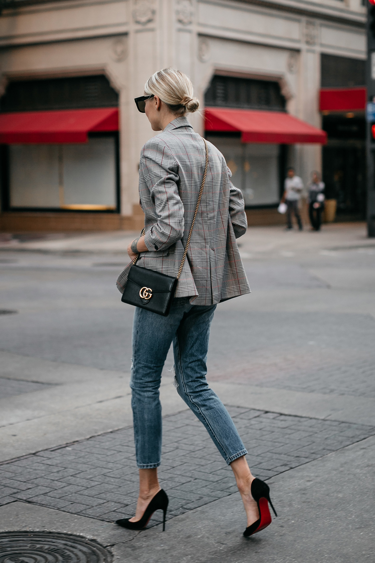 Blonde Woman Wearing Zara Plaid Blazer Denim Jeans Gucci Marmont Handbag Christian Louboutin Black Pumps Fashion Jackson Dallas Blogger Fashion Blogger Street Style