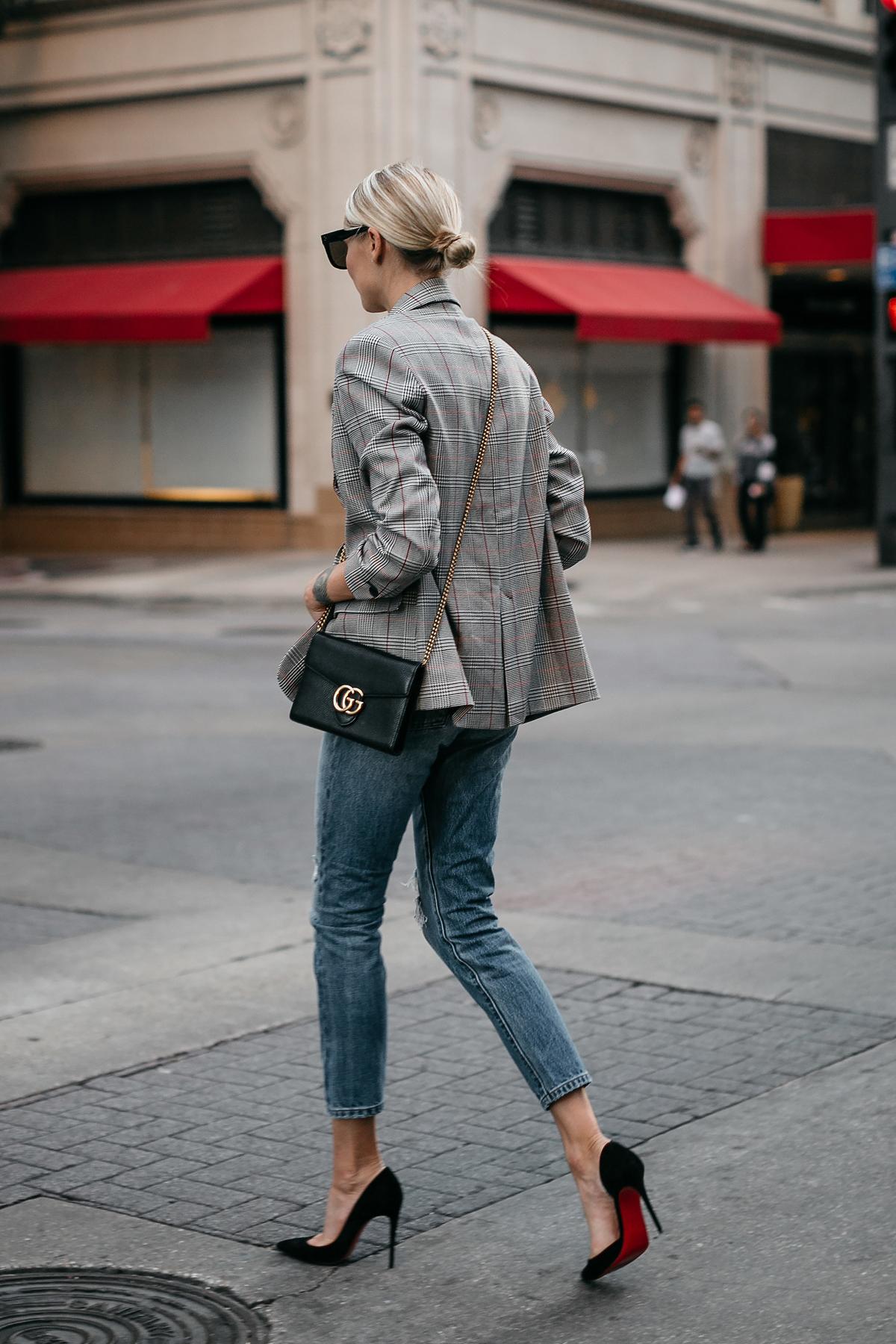 Blonde Woman Wearing Zara Plaid Blazer Denim Jeans Gucci Marmont Handbag Christian Louboutin Black Pumps Fashion Jackson Dallas Blogger Fashion Blogger Street Style