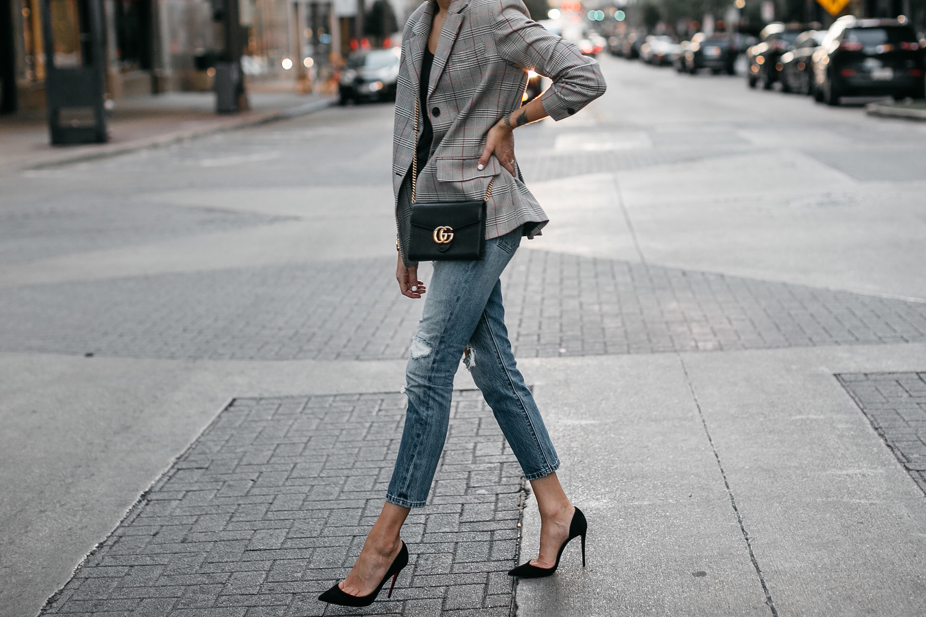 Zara Plaid Blazer Denim Ripped Jeans Gucci Marmont Handbag Christian Louboutin Black Pumps Fashion Jackson Dallas Blogger Fashion Blogger Street Style