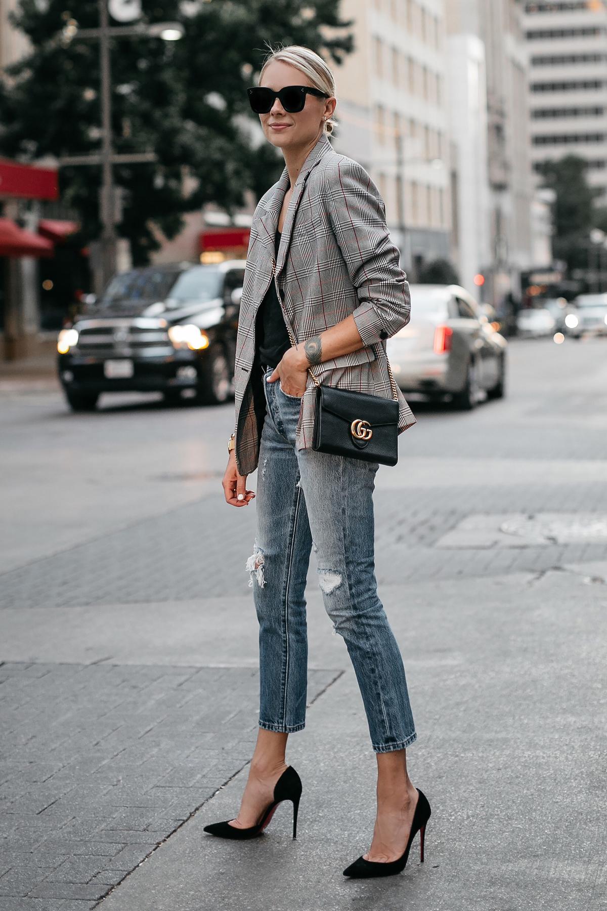 Blonde Woman Wearing Zara Plaid Blazer Denim Ripped Jeans Gucci Marmont Handbag Christian Louboutin Black Pumps Fashion Jackson Dallas Blogger Fashion Blogger Street Style