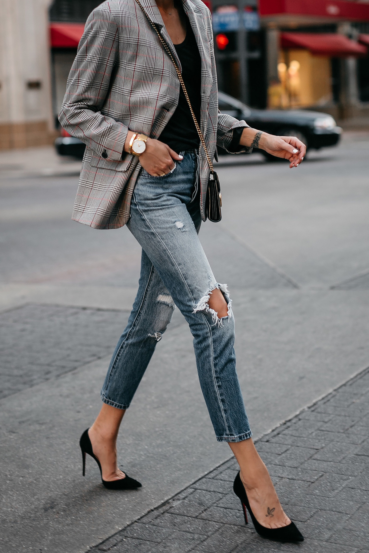 Zara Plaid Blazer Denim Ripped Jeans Gucci Marmont Handbag Christian Louboutin Black Pumps Fashion Jackson Dallas Blogger Fashion Blogger Street Style