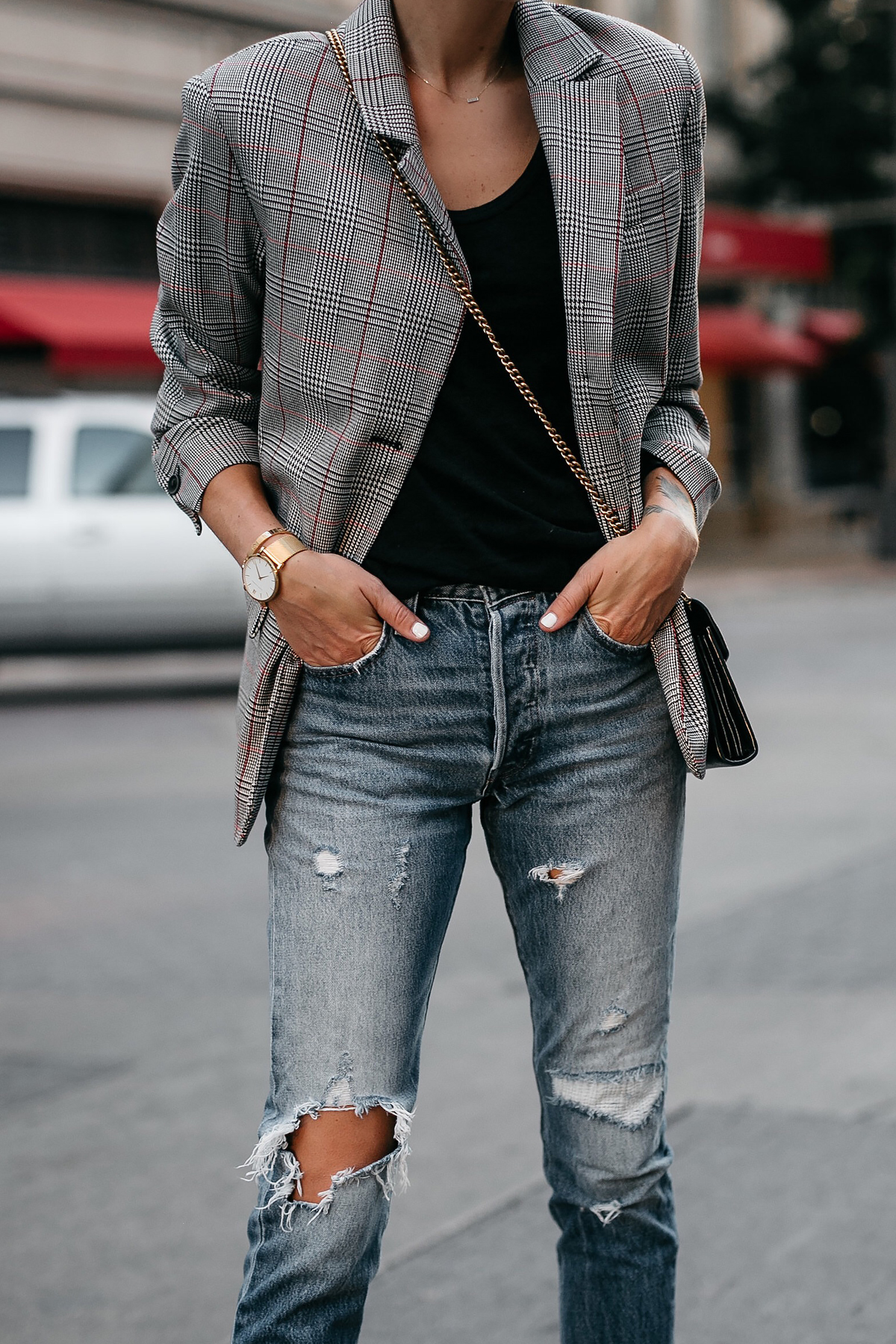 Zara Plaid Blazer Denim Ripped Jeans Gucci Marmont Handbag Fashion Jackson Dallas Blogger Fashion Blogger Street Style