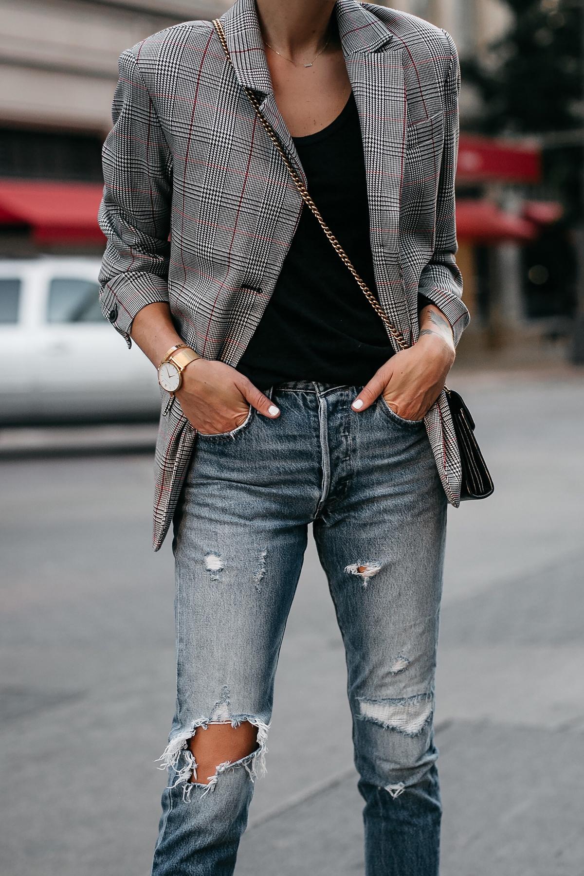Zara Plaid Blazer Denim Ripped Jeans Gucci Marmont Handbag Fashion Jackson Dallas Blogger Fashion Blogger Street Style