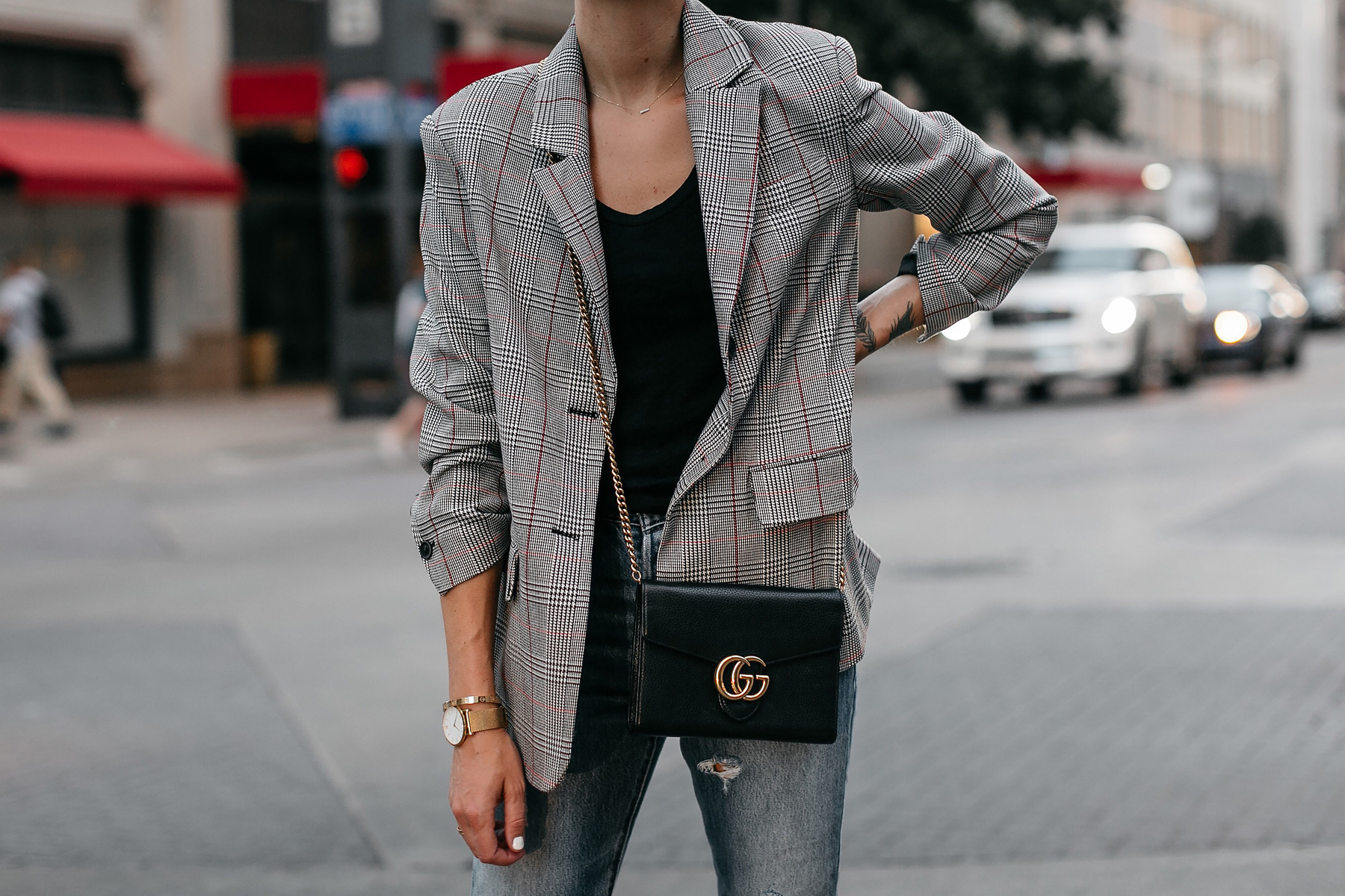 Zara Plaid Blazer Gucci Marmont Handbag Fashion Jackson Dallas Blogger Fashion Blogger Street Style
