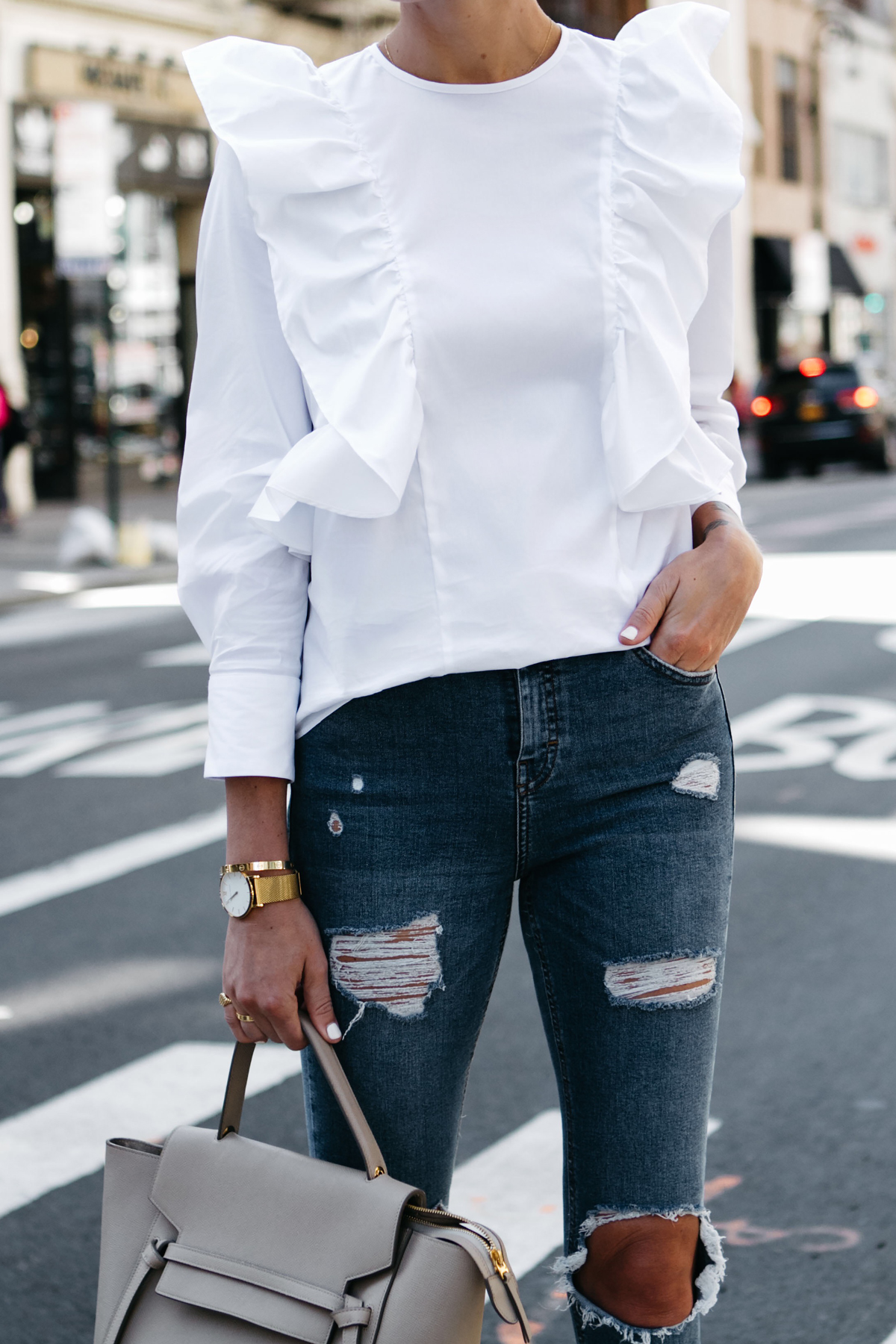 Zara White Ruffle Shirt Denim Ripped Skinny Jeans Fashion Jackson Dallas Blogger Fashion Blogger Street Style NYFW