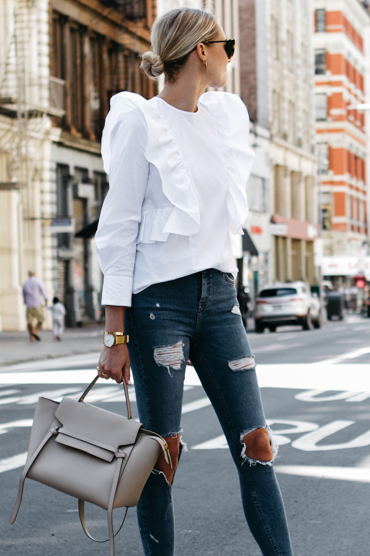 Blonde Woman Wearing Zara White Ruffle Shirt Denim Ripped Skinny Jeans Celine Belt Bag Fashion Jackson Dallas Blogger Fashion Blogger Street Style NYFW