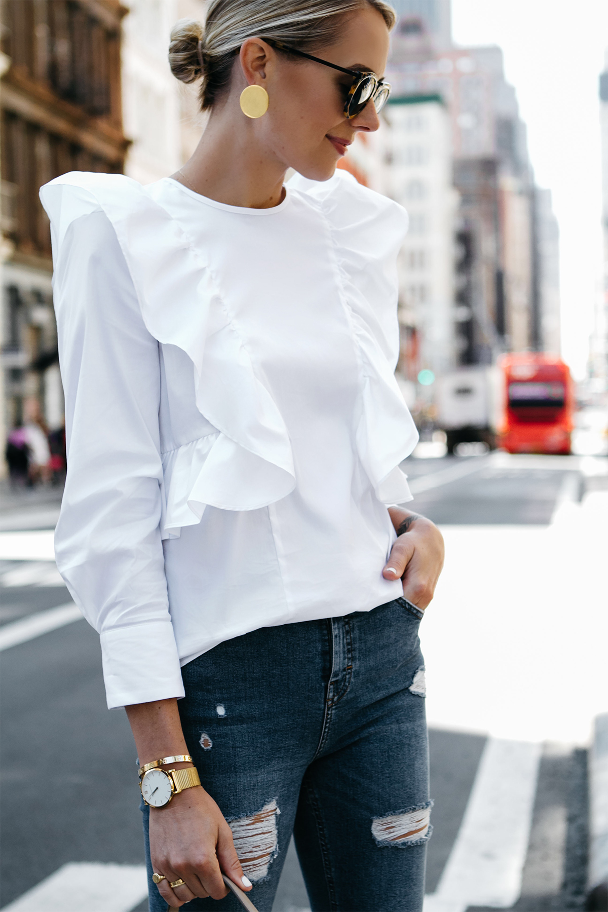 Blonde Woman Wearing Zara White Ruffle Shirt Gold Disc Earrings Fashion Jackson Dallas Blogger Fashion Blogger Street Style NYFW