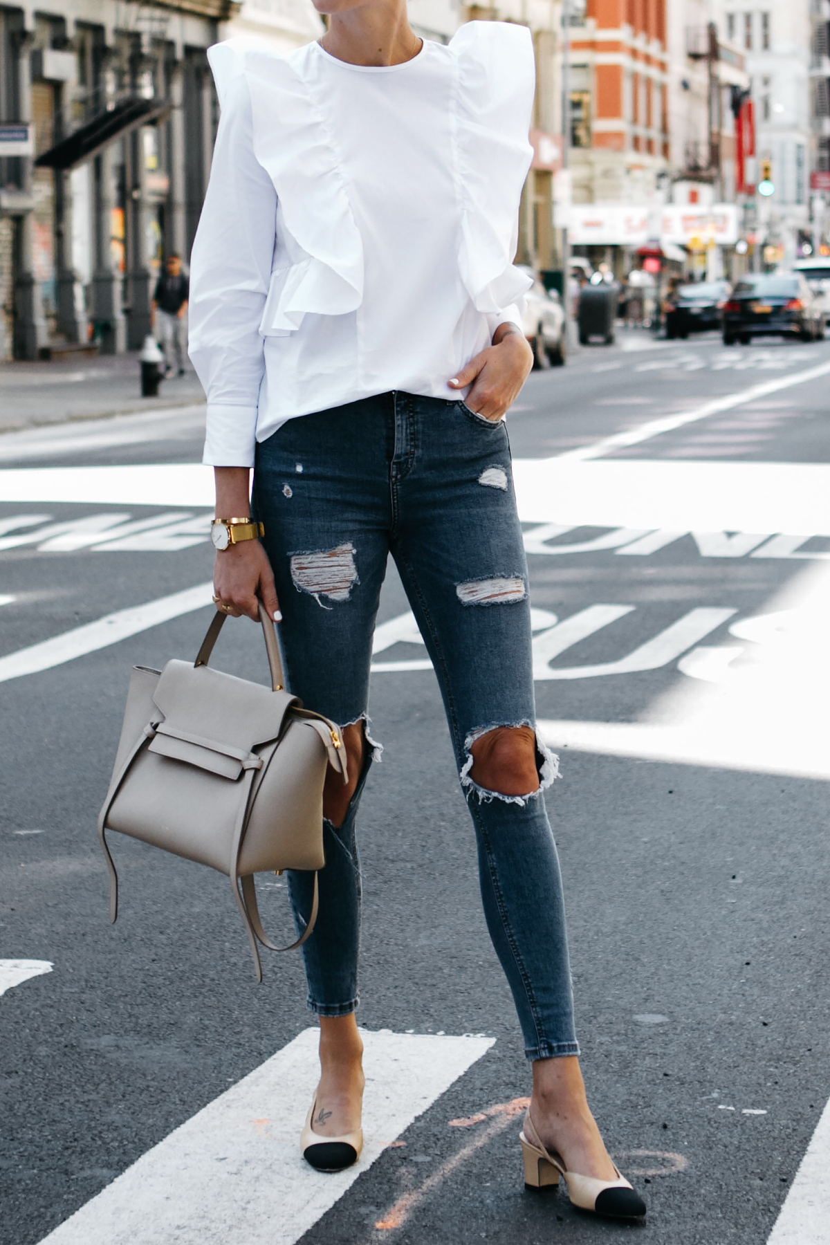 Zara White Ruffle Shirt Topshop Denim Ripped Skinny Jeans Chanel Slingbacks Celine Belt Bag Fashion Jackson Dallas Blogger Fashion Blogger Street Style NYFW