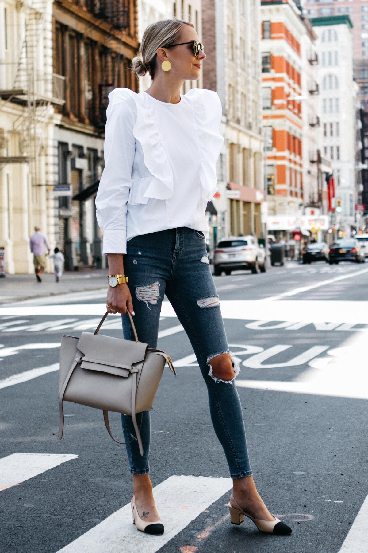 Blonde Woman Wearing Zara White Ruffle Shirt Topshop Denim Ripped Skinny Jeans Chanel Slingbacks Celine Belt Bag Fashion Jackson Dallas Blogger Fashion Blogger Street Style NYFW