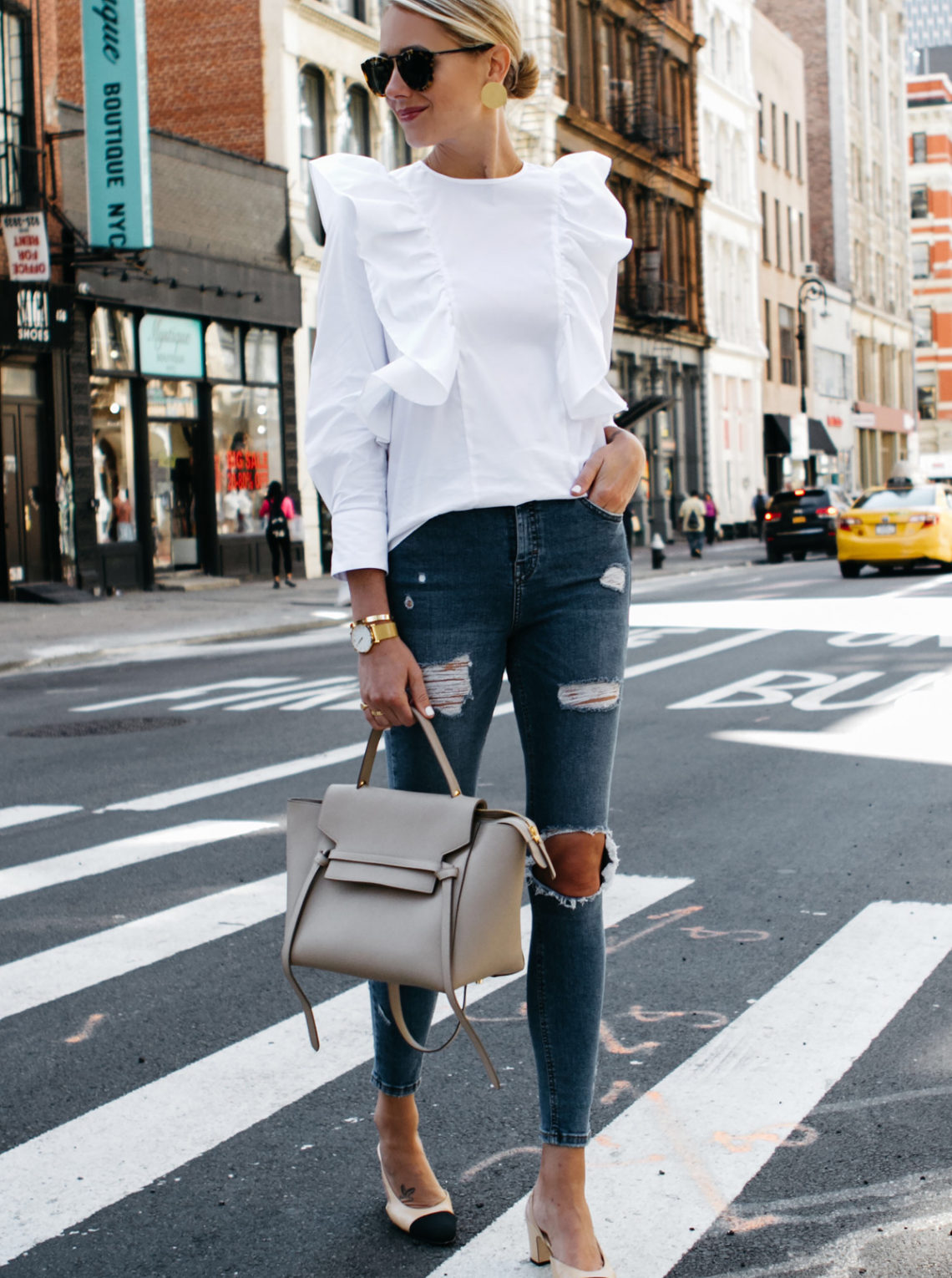 Blonde Woman Wearing Zara White Ruffle Shirt Topshop Denim Ripped Skinny Jeans Chanel Slingbacks Celine Belt Bag Fashion Jackson Dallas Blogger Fashion Blogger Street Style NYFW