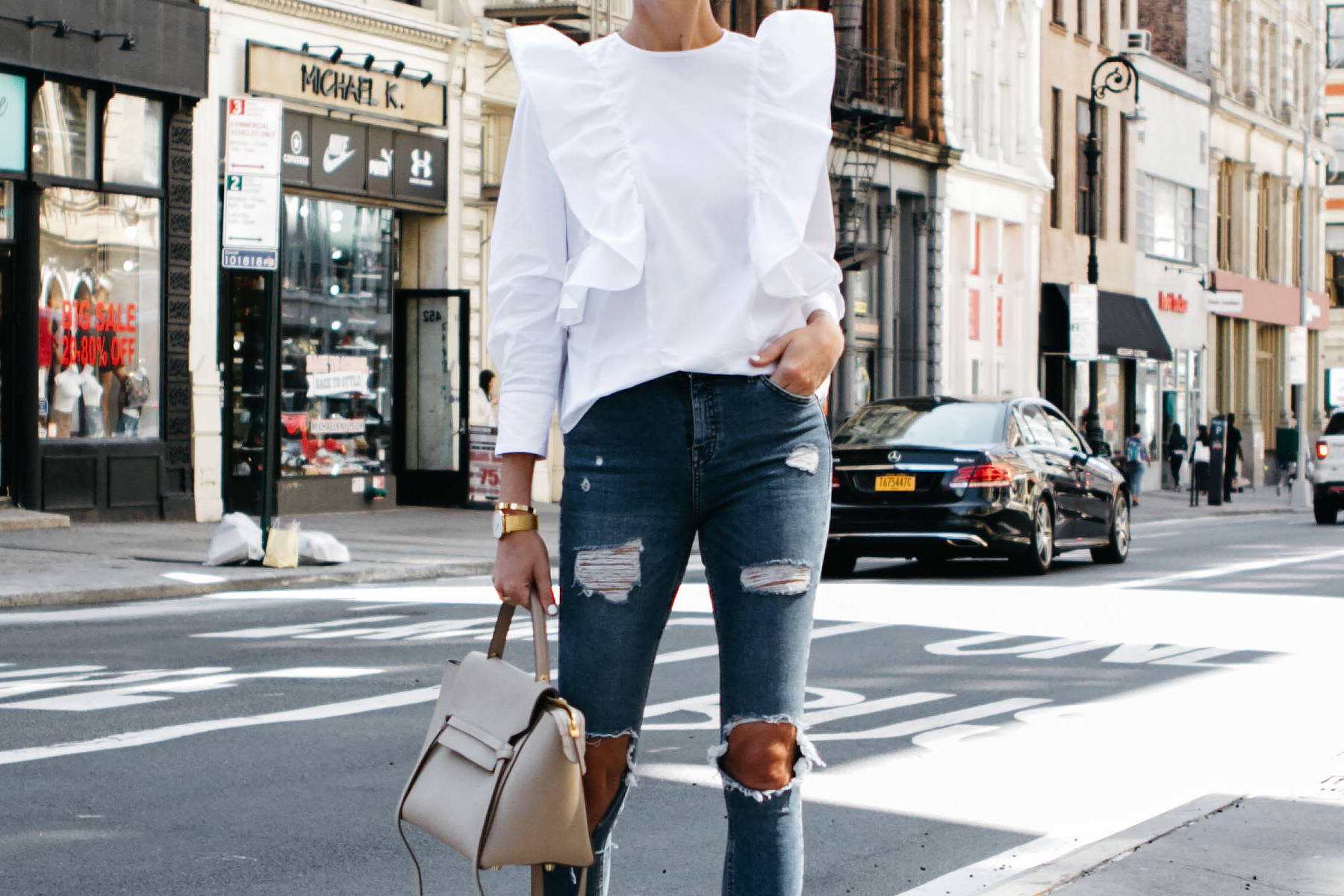Zara White Ruffle Top Denim Ripped Skinny Jeans Celine Belt Bag Fashion Jackson Dallas Blogger Fashion Blogger Street Style NYFW