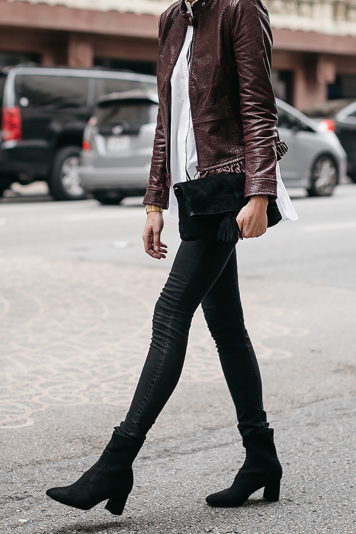 Ann Taylor Luxewear Moto Leather Jacket White Shirt Black Skinny Jeans Black Ankle Booties Black Clutch Fashion Jackson Dallas Blogger Fashion Blogger Street Style
