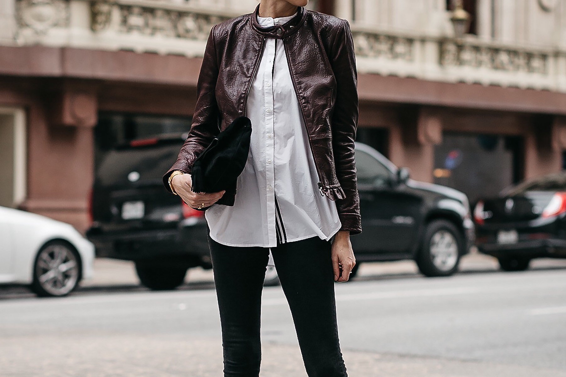 Ann Taylor Luxewear Moto Leather Jacket White Shirt Black Skinny Jeans Black Clutch Fashion Jackson Dallas Blogger Fashion Blogger Street Style