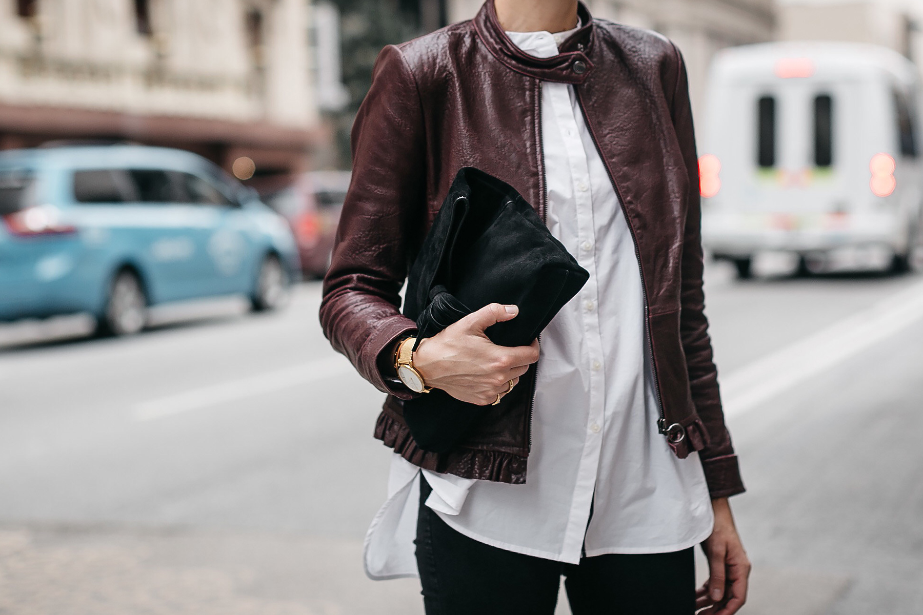 Ann Taylor Luxewear Moto Leather Jacket White Shirt Clutch Fashion Jackson Dallas Blogger Fashion Blogger Street Style