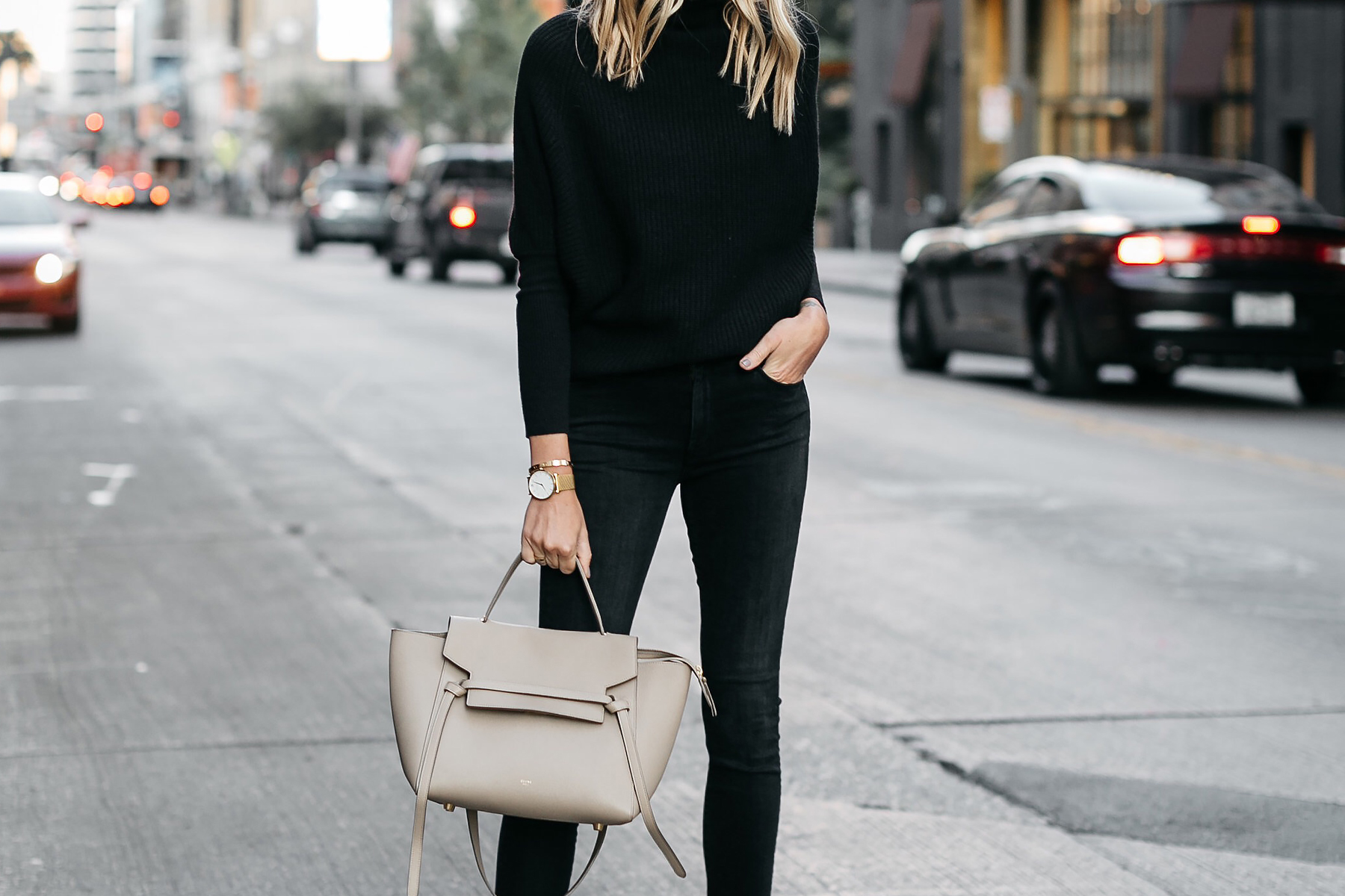 Black Cashmere Sweater Black Skinny Jeans Celine Mini Belt Bag Fashion Jackson Dallas Blogger Fashion Blogger Street Style