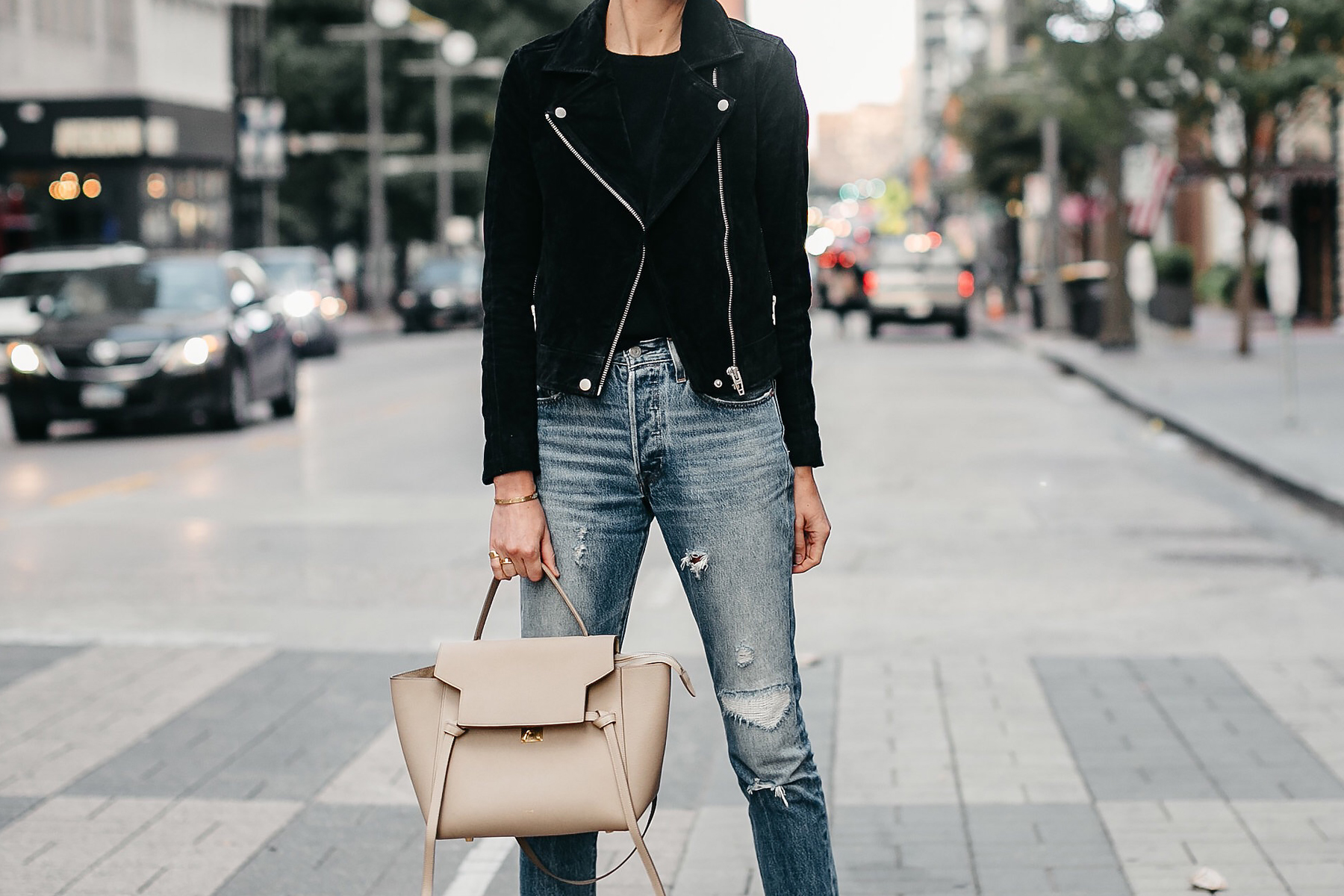 Black Suede Moto Jacket Black Sweater Denim Ripped Jeans Celine Mini Belt Bag Fall-Fashion Must Haves Fashion Jackson Dallas Blogger Fashion Blogger Street Style