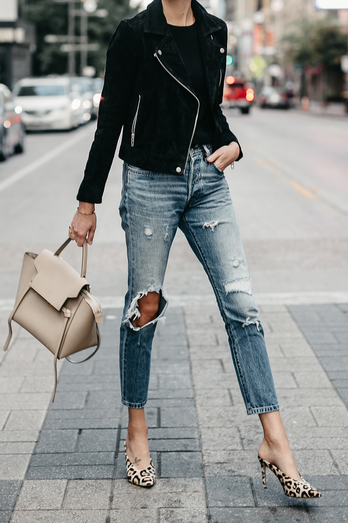 Black Suede Moto Jacket Black Sweater Denim Ripped Jeans Celine Mini Belt Bag Leopard Heels Fall-Fashion Must Haves Fashion Jackson Dallas Blogger Fashion Blogger Street Style