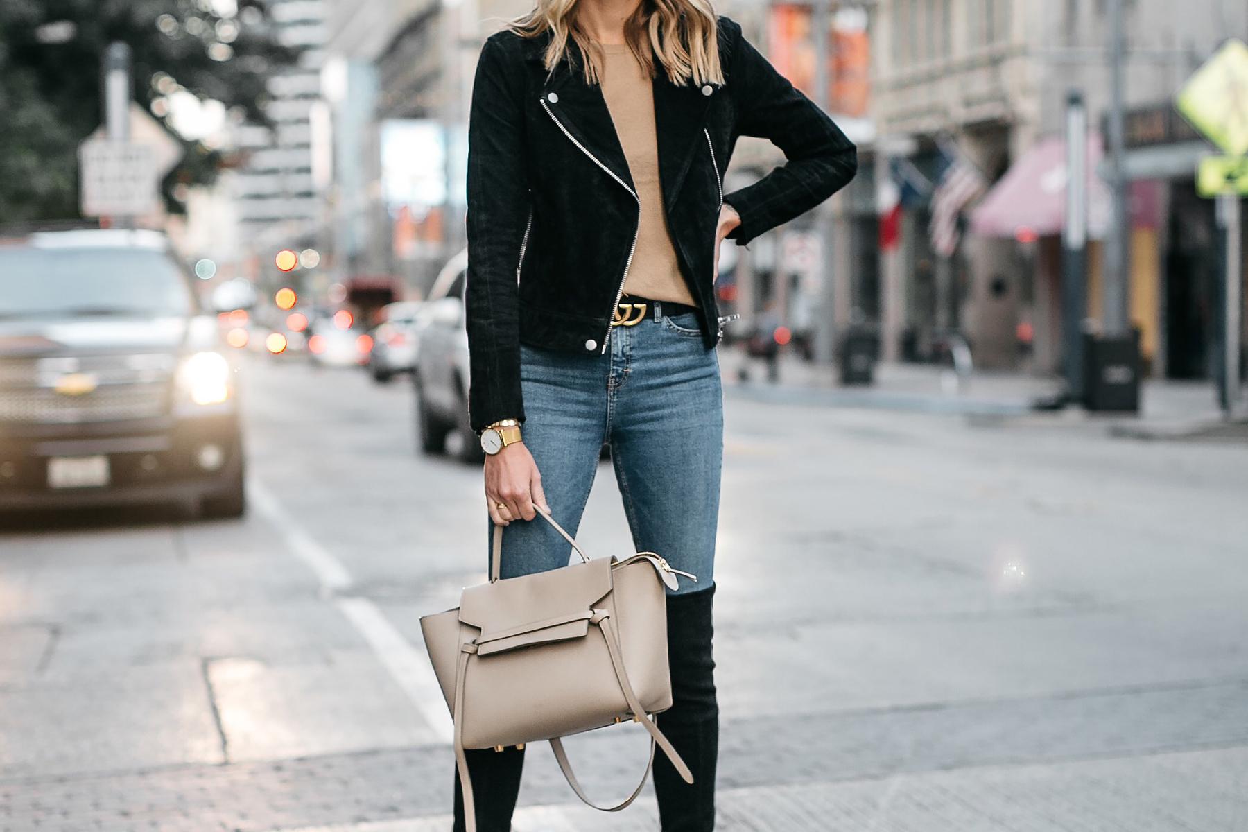 b6a99a1cd64 Black Suede Moto Jacket Camel Sweater Denim Skinny Jeans Gucci Marmont Belt  Celine Mini Belt Bag