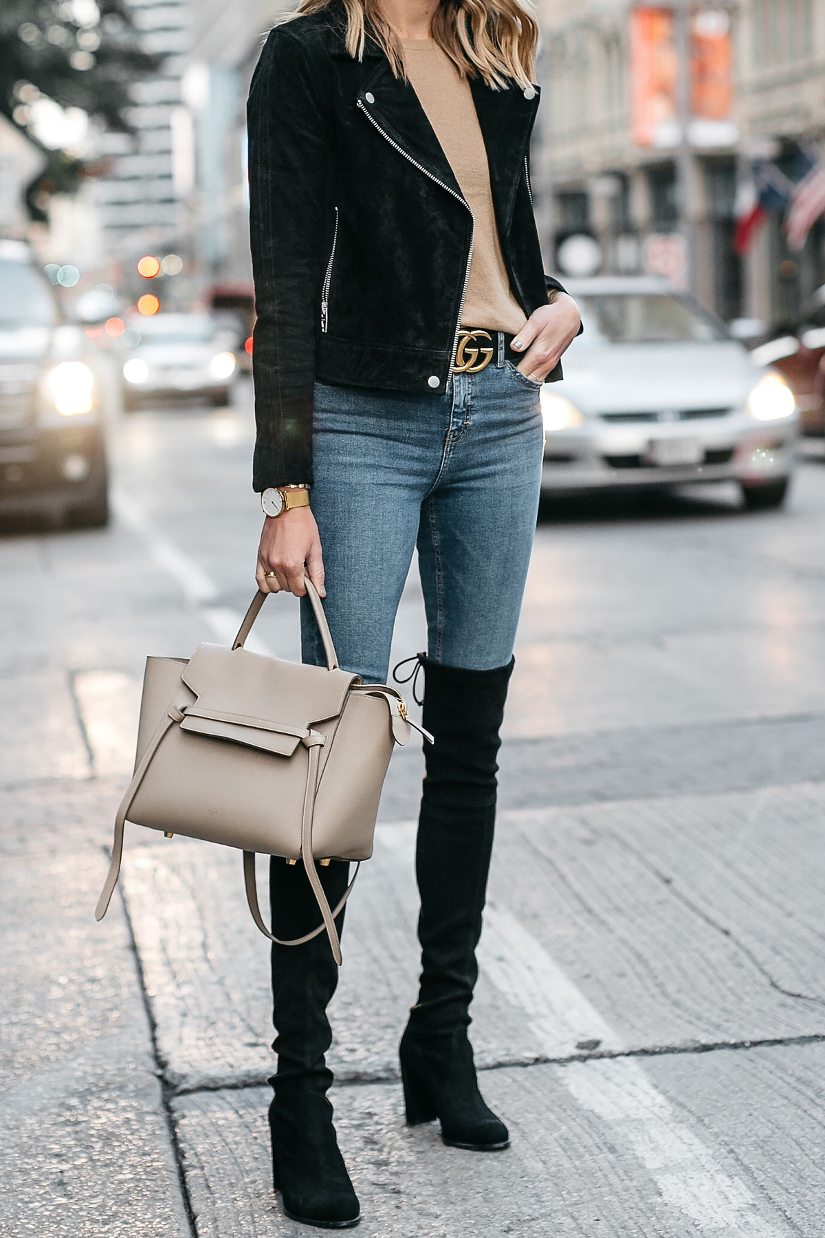 65c67e0755b Black Suede Moto Jacket Camel Sweater Denim Skinny Jeans Stuart Weitzman  Over-the-Knee