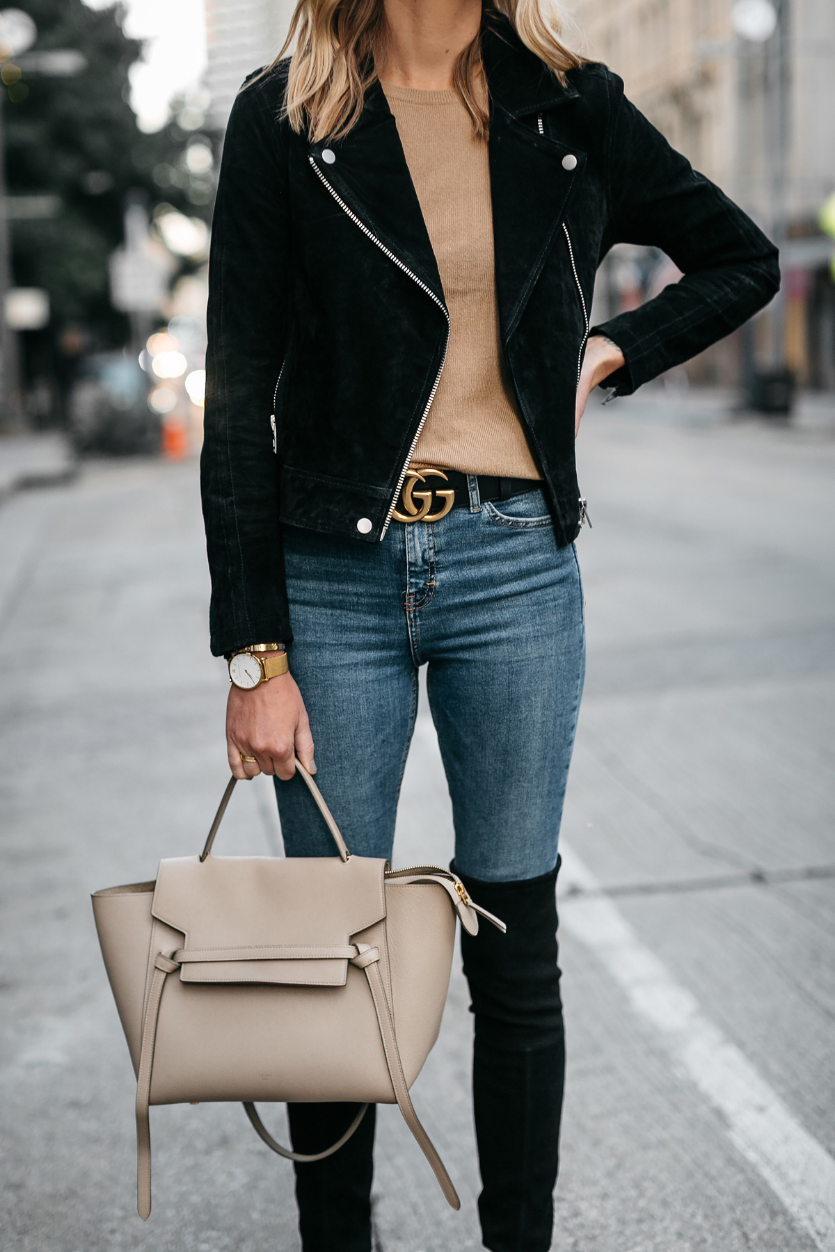 fb48d380666 Black Suede Moto Jacket Camel Sweater Denim Skinny Jeans Stuart Weitzman  Over-the-Knee