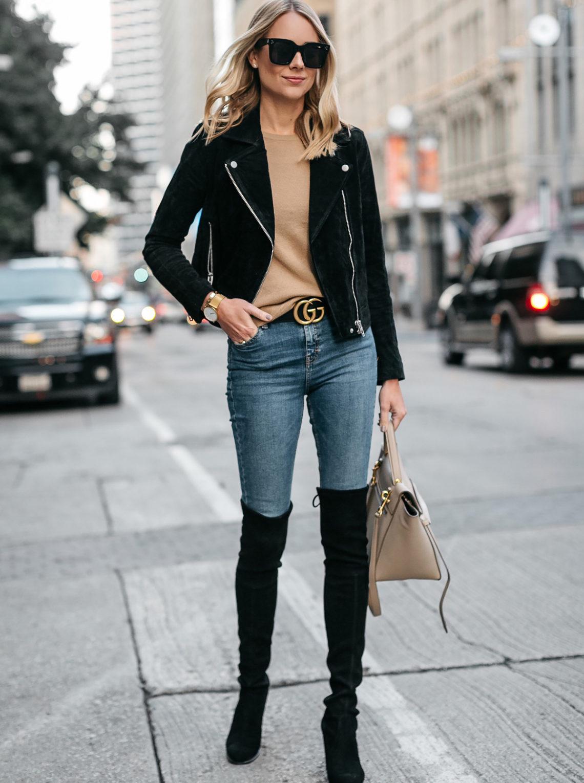 Blonde Woman Wearing Black Suede Moto Jacket Camel Sweater Denim Skinny Jeans Stuart Weitzman Over-the-Knee boots Gucci Marmont Belt Fashion Jackson Dallas Blogger Fashion Blogger Street Style