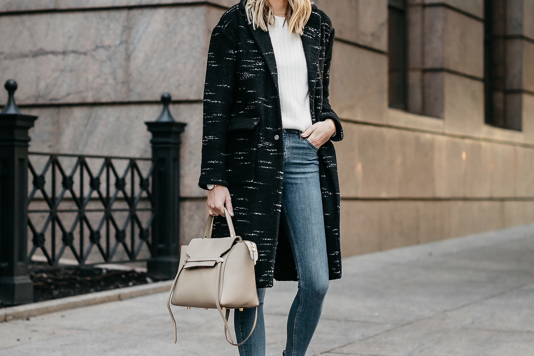 Black Sweater Coat Celine Mini Belt Bag Denim Skinny Jeans Fashion Jackson Dallas Blogger Fashion Blogger Street Style