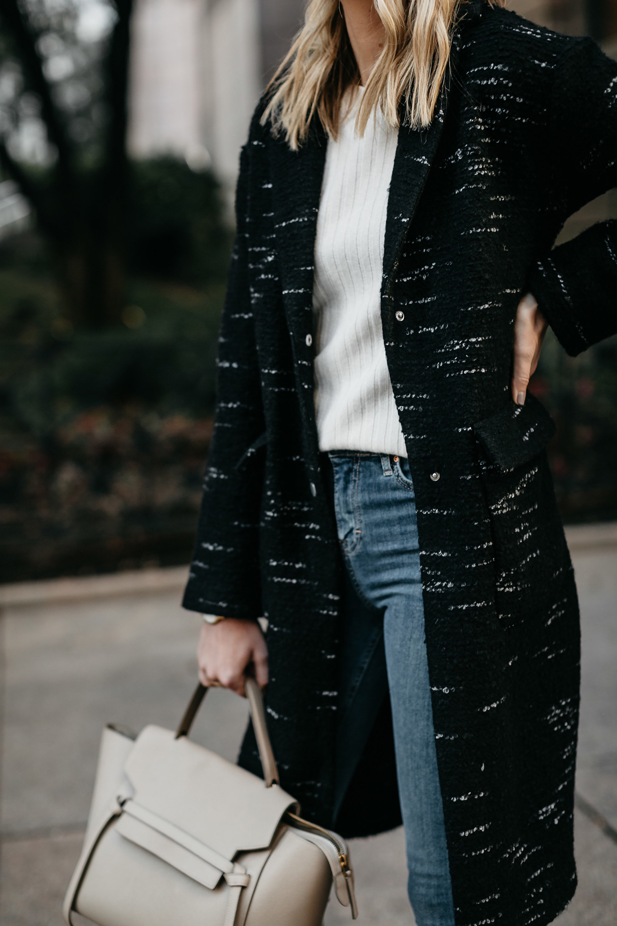 Black Sweater Coat White Sweater Celine Mini Belt Bag Fashion Jackson Dallas Blogger Fashion Blogger Street Style