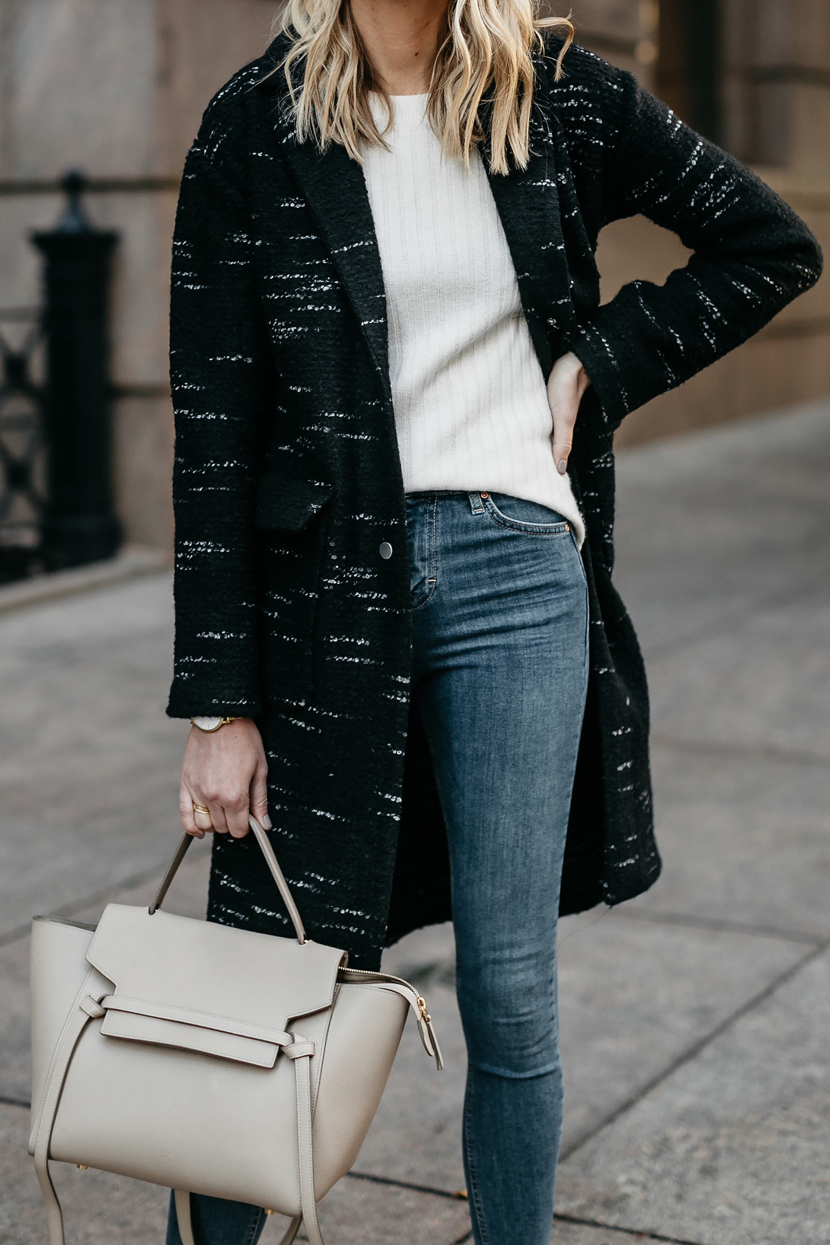 Black Sweater Coat White Sweater Denim Skinny Celine Mini Belt Bag Fashion Jackson Dallas Blogger Fashion Blogger Street Style