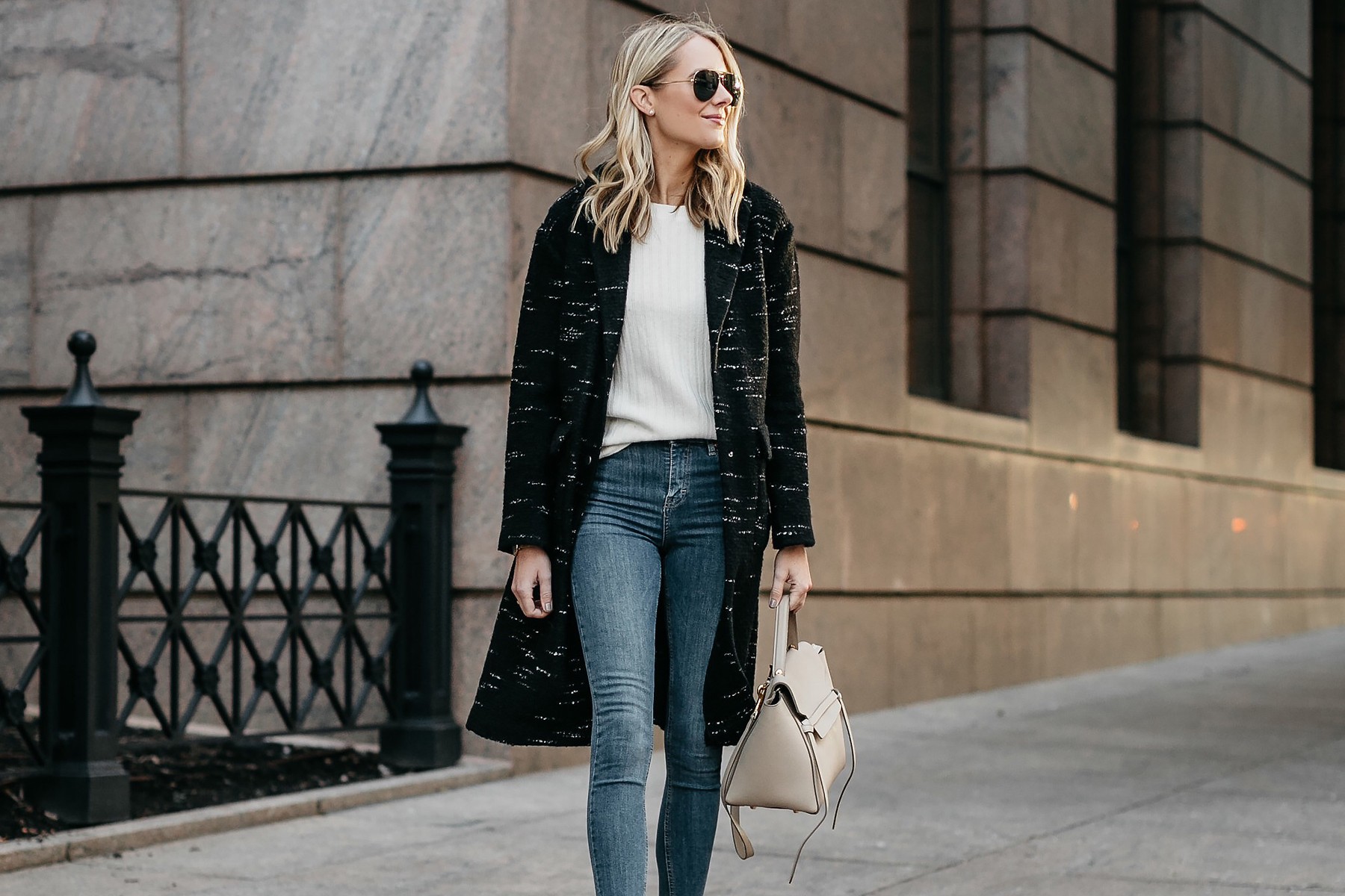 Blonde Woman Wearing Black Sweater Coat White Sweater Denim Skinny Jeans Fashion Jackson Dallas Blogger Fashion Blogger Street Style