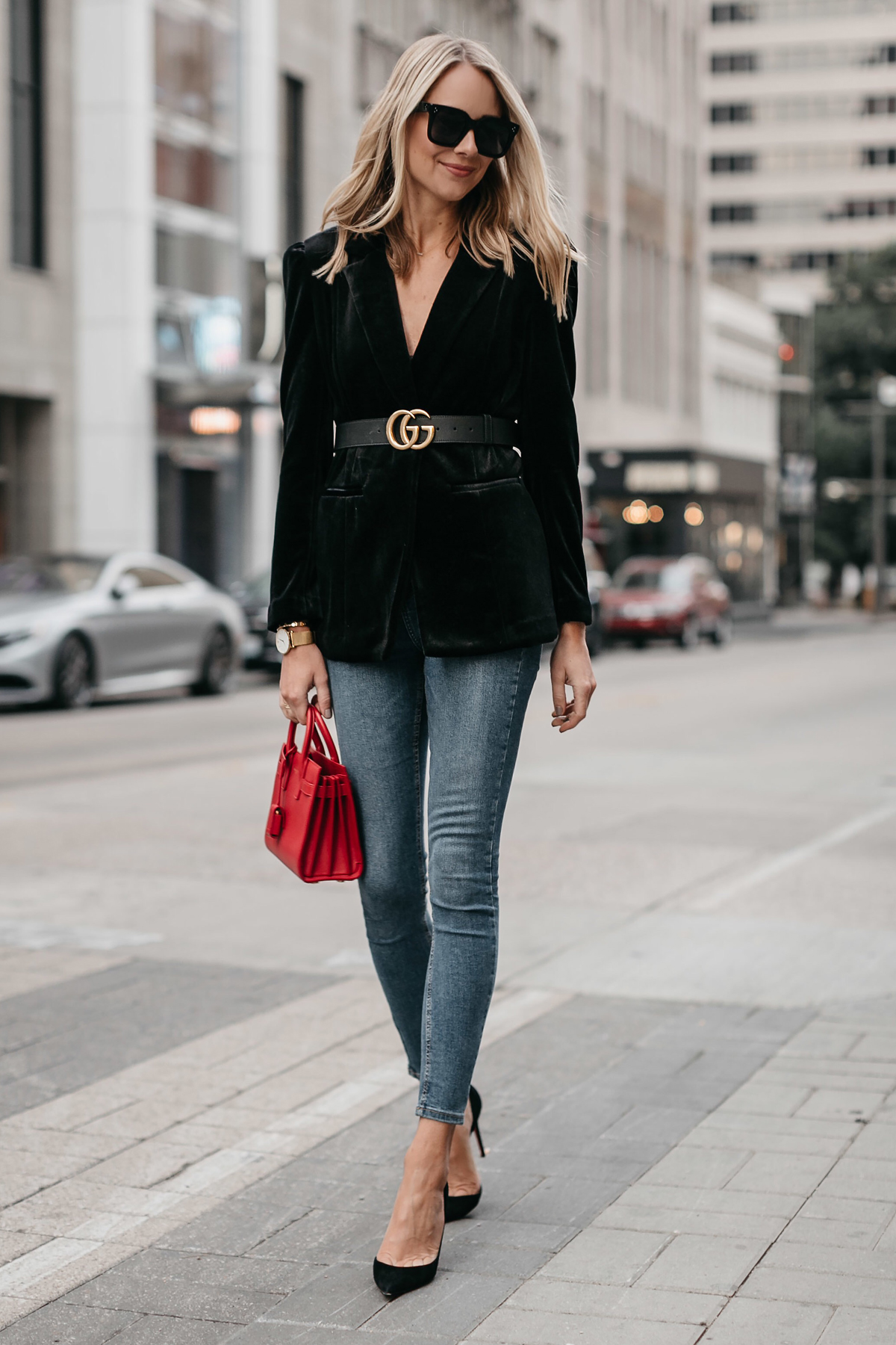 Blonde Woman Wearing Black Velvet Blazer Gucci Marmont Belt Denim Skinny Jeans Black Pumps Saint Laurent Red Sac De Jour Fashion Jackson Dallas Blogger Fashion Blogger Street Style