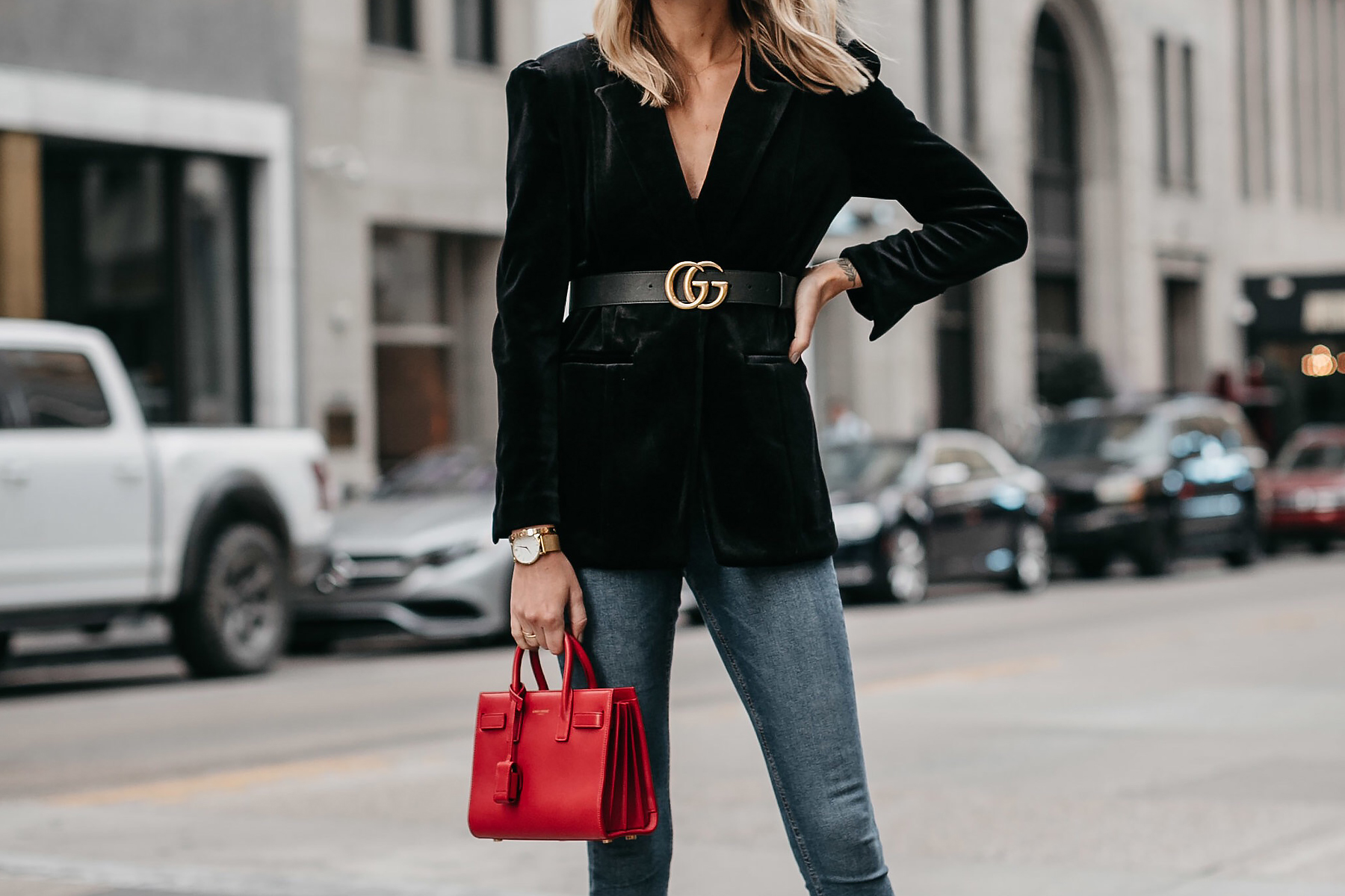 Black Velvet Blazer Gucci Marmont Belt Denim Skinny Jeans Saint Laurent Red Sac De Jour Fashion Jackson Dallas Blogger Fashion Blogger Street Style