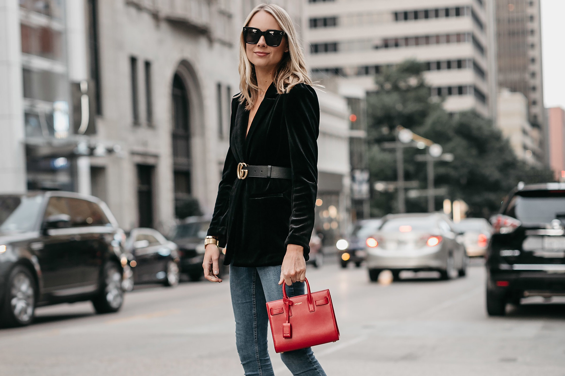 Blonde Woman Wearing Black Velvet Blazer Gucci Marmont Belt Saint Laurent Red Sac De Jour Denim Jeans Fashion Jackson Dallas Blogger Fashion Blogger Street Style