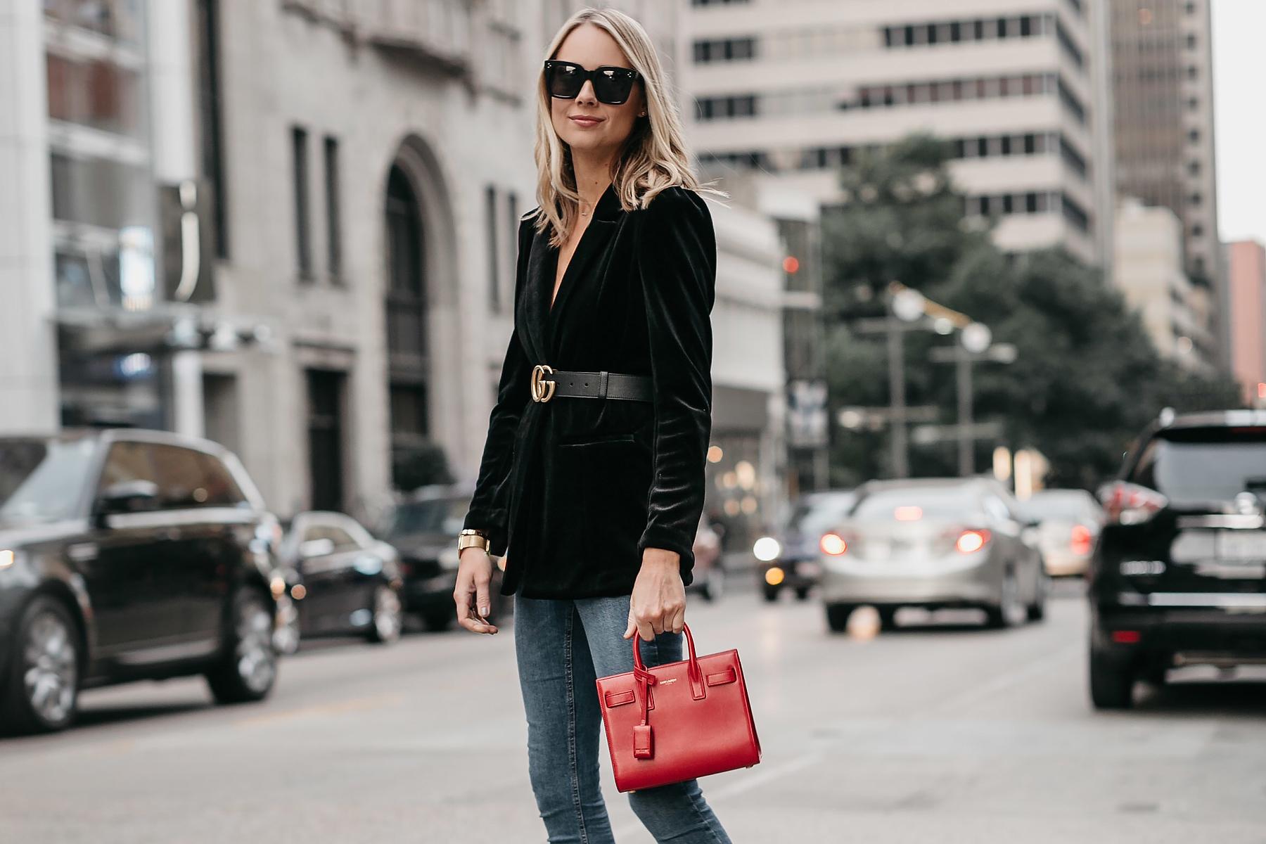 Blonde Woman Wearing Black Velvet Blazer Gucci Marmont Belt Saint Laurent Red Sac De Jour Denim Jeans Fashion Jackson Dallas Blogger Fashion Blogger Street Style