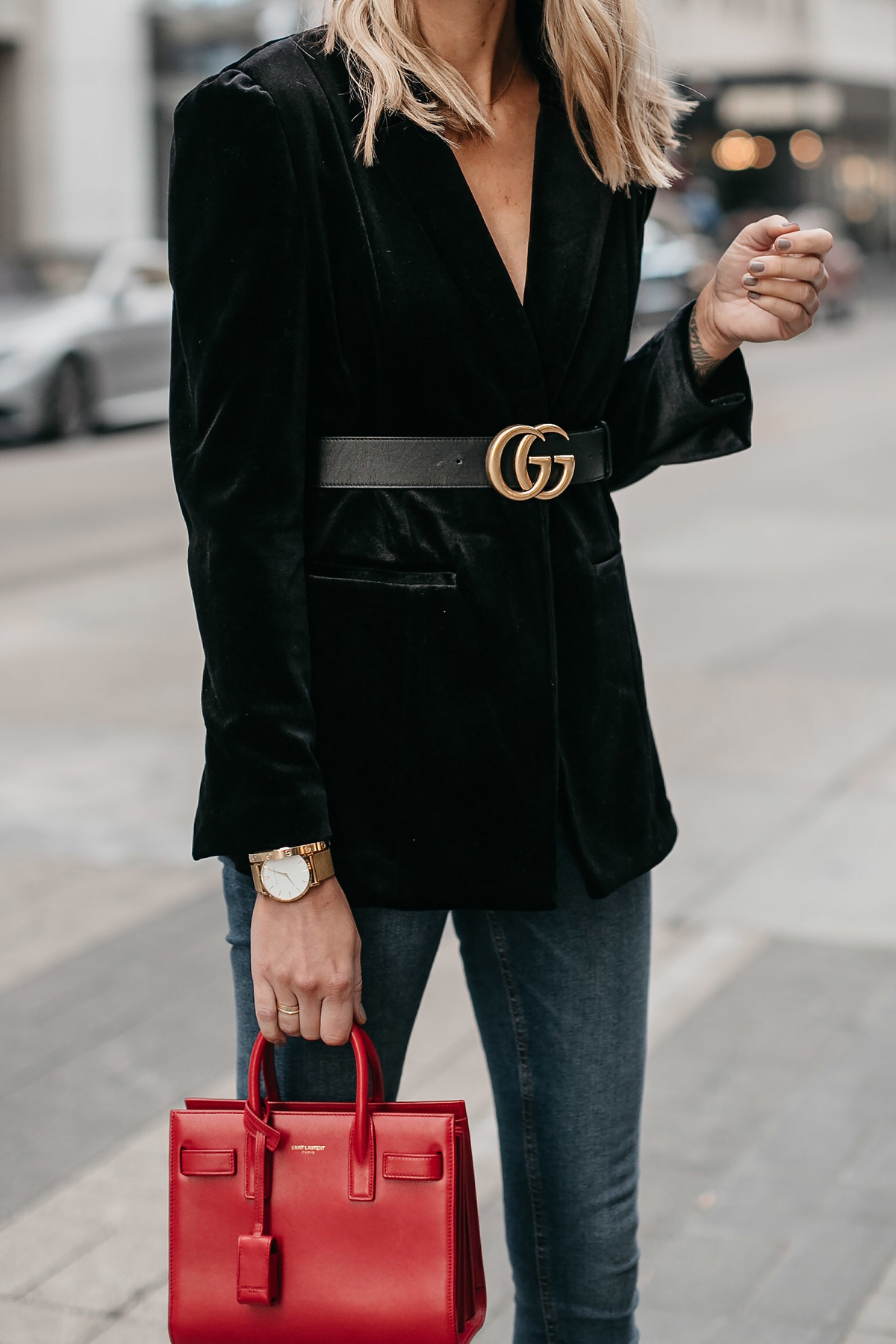 Black Velvet Blazer Gucci Marmont Belt Saint Laurent Red Sac De Jour Fashion Jackson Dallas Blogger Fashion Blogger Street Style