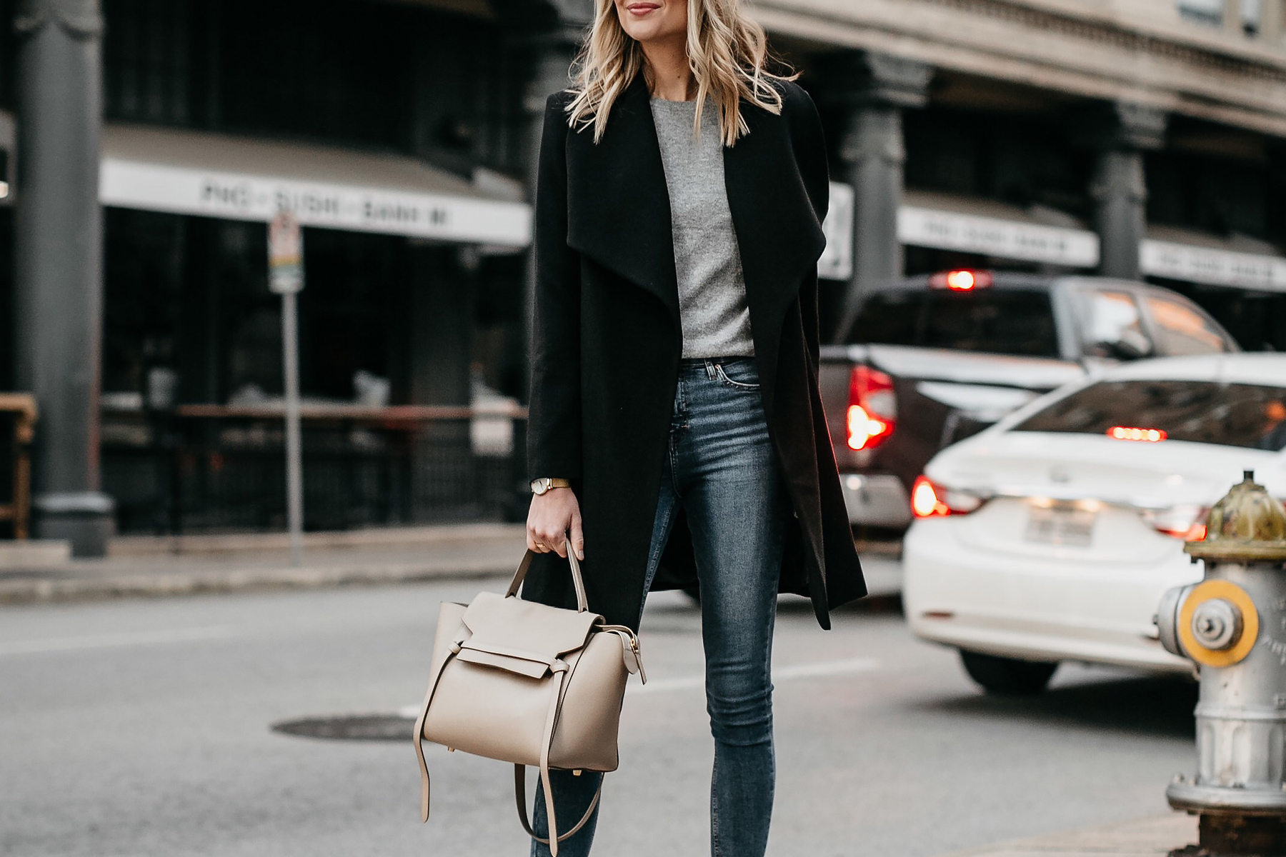 Black Wrap Coat Grey Sweater Denim Skinny Jeans Celine Mini Belt Bag Fashion Jackson Dallas Blogger Fashion Blogger Street Style