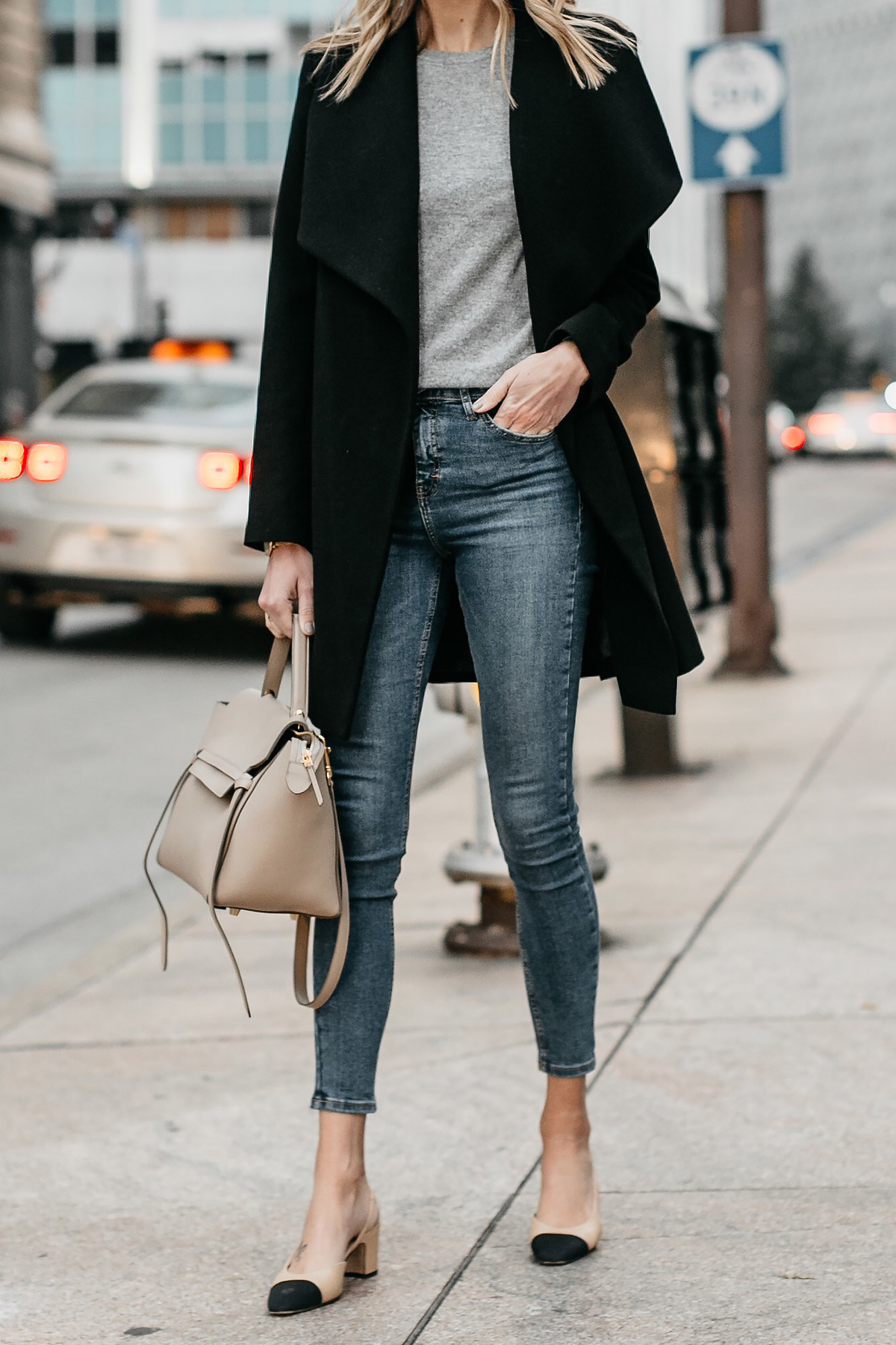 Black Wrap Coat Grey Sweater Denim Skinny Jeans Chanel Slingbacks Celine MIni Belt Bag Fashion Jackson Dallas Blogger Fashion Blogger Street Style