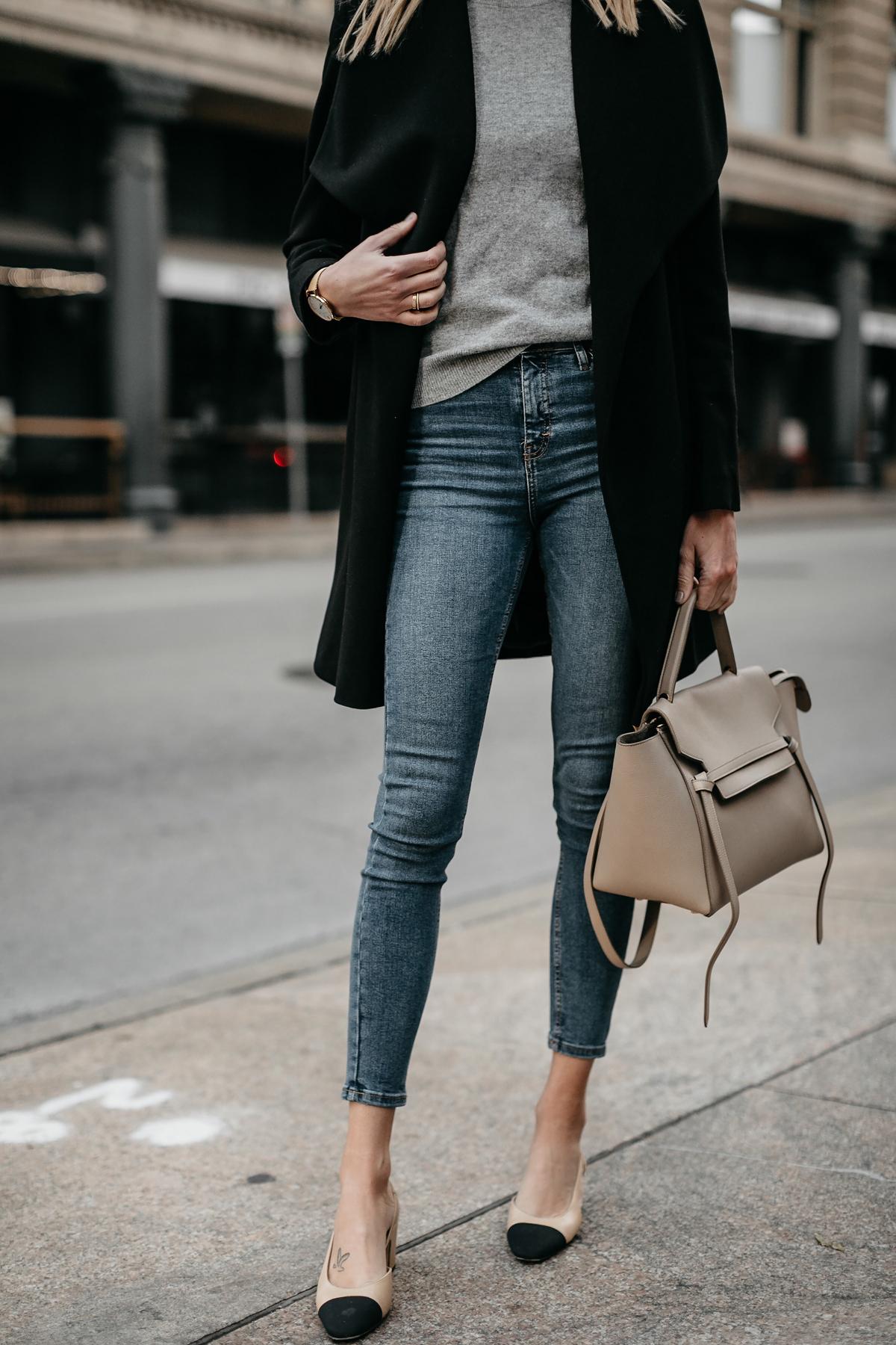 Black Wrap Coat Grey Sweater Denim Skinny Jeans Chanel Slingbacks Celine  MIni Belt Bag Fashion Jackson c7a33bb709232