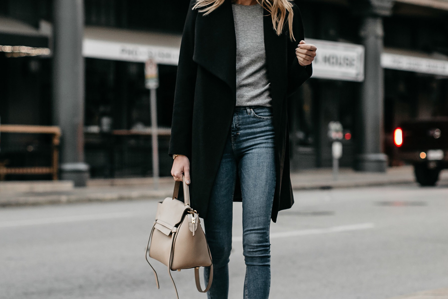 Black Wrap Coat Grey Sweater Denim Skinny Jeans Fashion Jackson Dallas Blogger Fashion Blogger Street Style