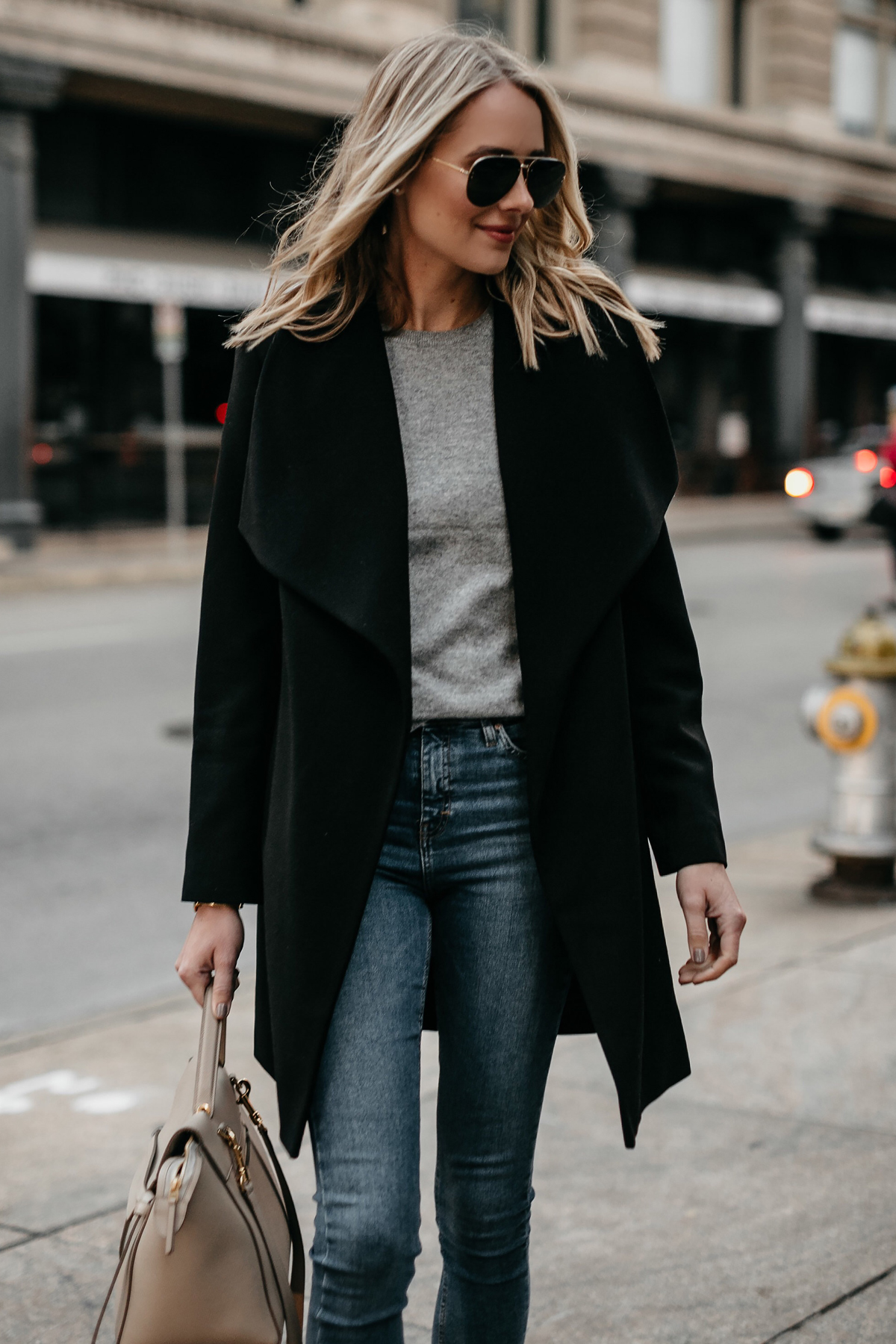 Blonde Woman Wearing Black Wrap Coat Grey Sweater Fashion Jackson Dallas Blogger Fashion Blogger Street Style