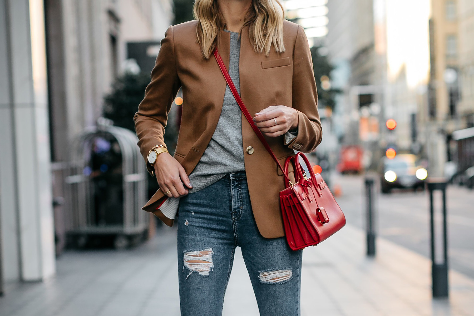 Camel Blazer Ripped Denim Jeans Red Bag Fashion Jackson Dallas Blogger Fashion Blogger Street Style