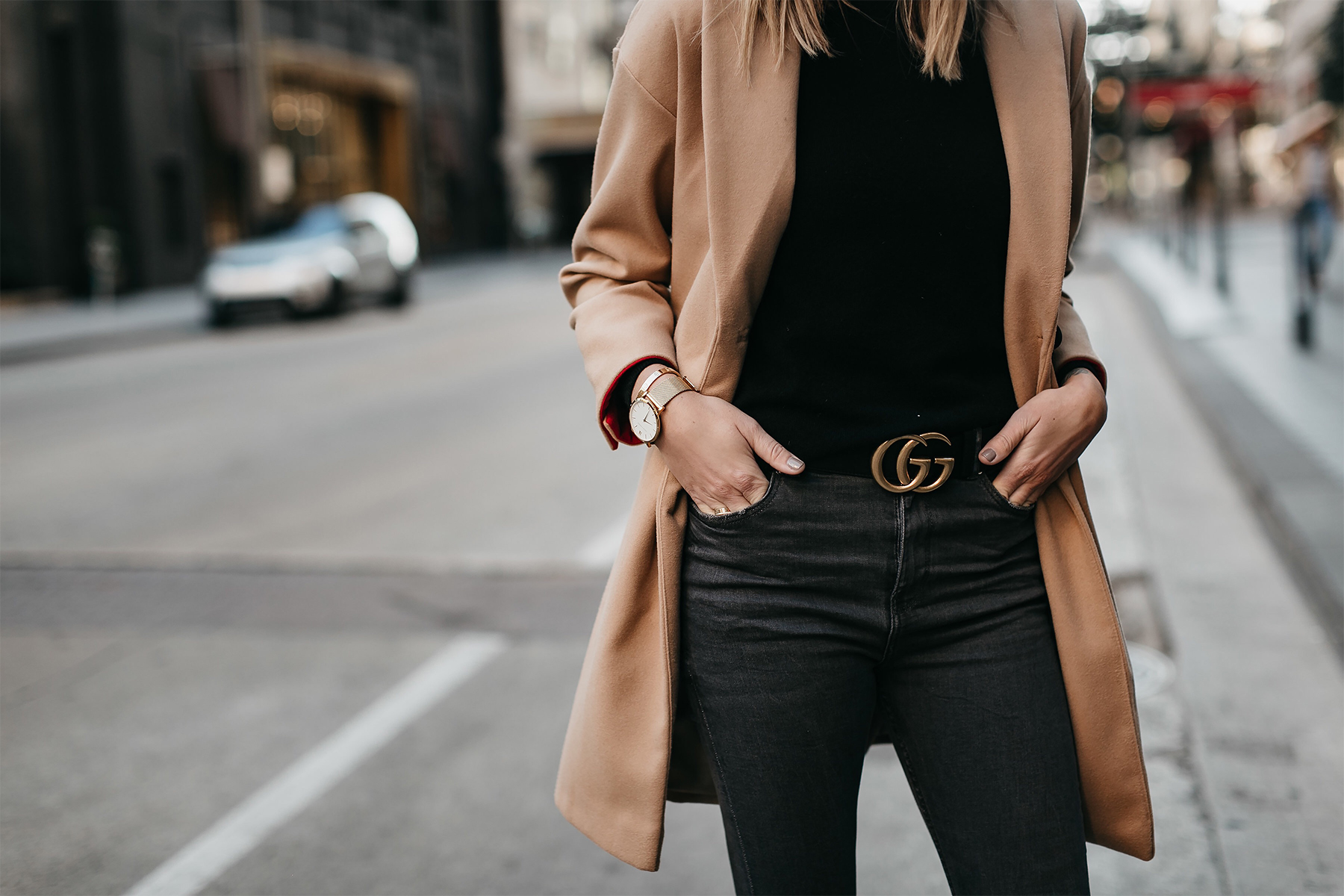 Camel Coat Black Sweater Gucci Marmont Belt Fashion Jackson Dallas Blogger Fashion Blogger Street Style