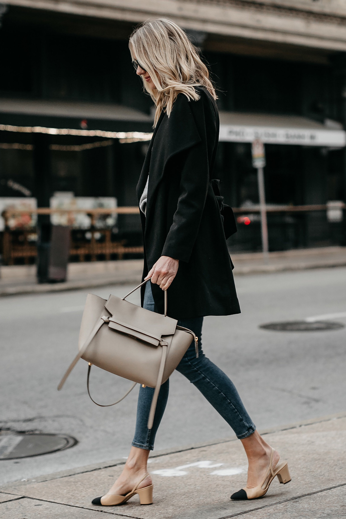 Blonde Woman Wearing Celine Mini Belt Bag Black Wrap Coat Chanel Slingbacks Fashion Jackson Dallas Blogger Fashion Blogger Street Style