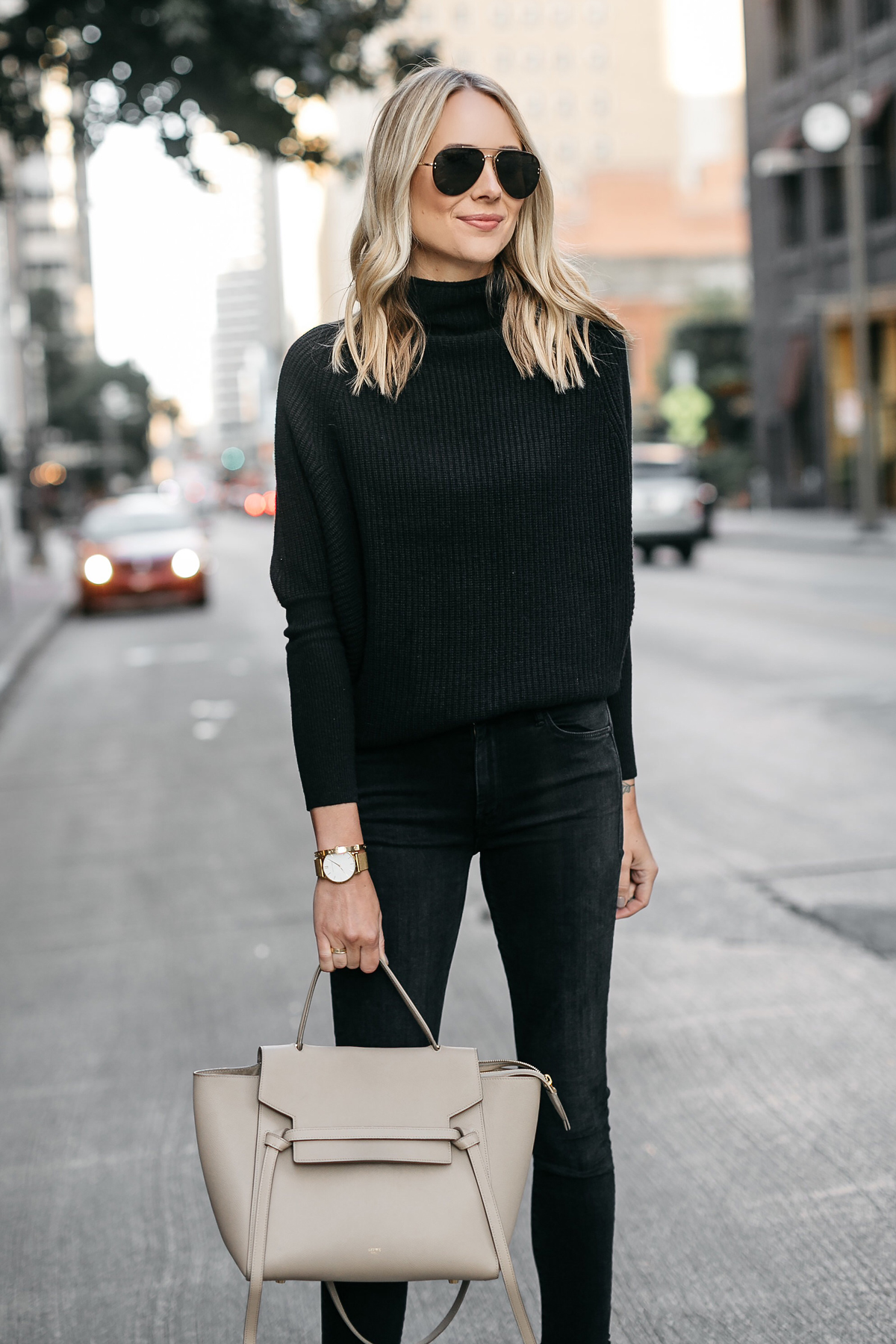 Blonde Woman Wearing Club Monaco Black Cashmere Sweater Black Jeans Celine Mini Belt Bag Fashion Jackson Dallas Blogger Fashion Blogger Street Style