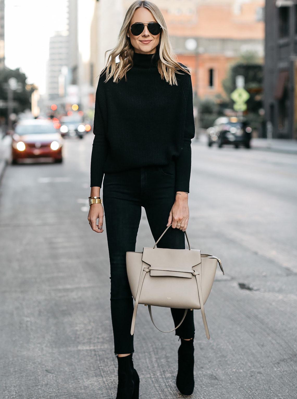 Blonde Woman Wearing Club Monaco Black Cashmere Sweater Black Skinny Jeans Black Booties Celine Mini Belt Bag Fashion Jackson Dallas Blogger Fashion Blogger Street Style