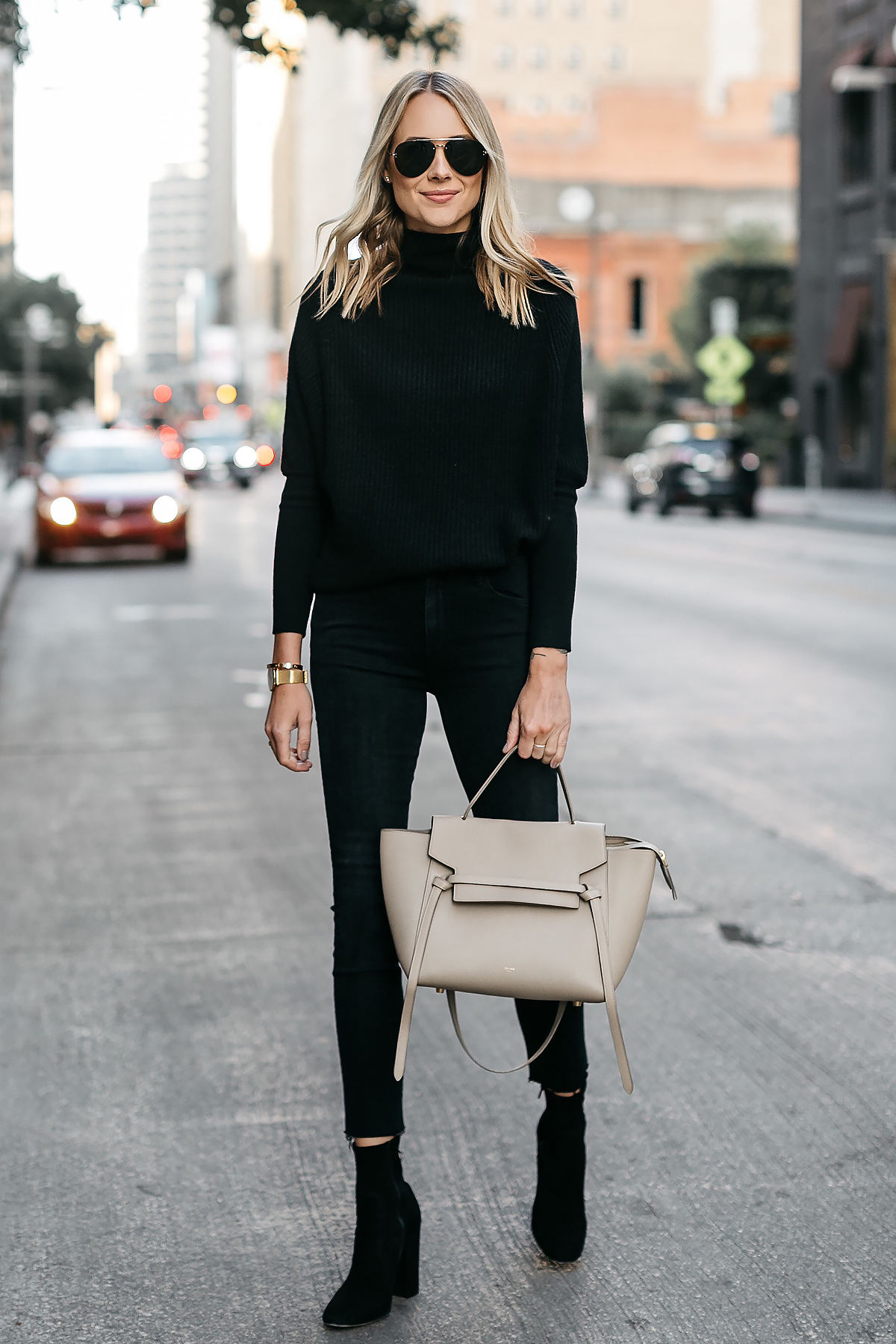 Blonde Woman Wearing Club Monaco Black Cashmere Sweater Black Skinny Jeans Black Booties Celine Mini Belt Bag Fashion Jackson Dallas Blogger Fashion Blogger Street Style